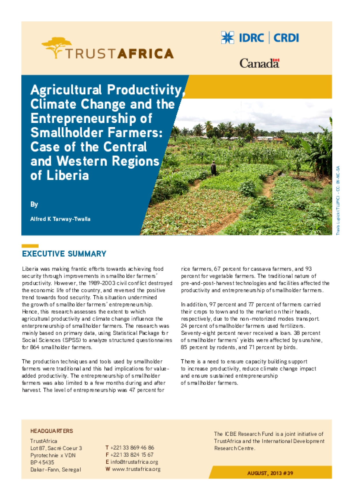 Agricultural Productivity, Climate Change and the Entrepreneurship of Smallholder Farmers: Case of the Central and Western Regions of Liberia