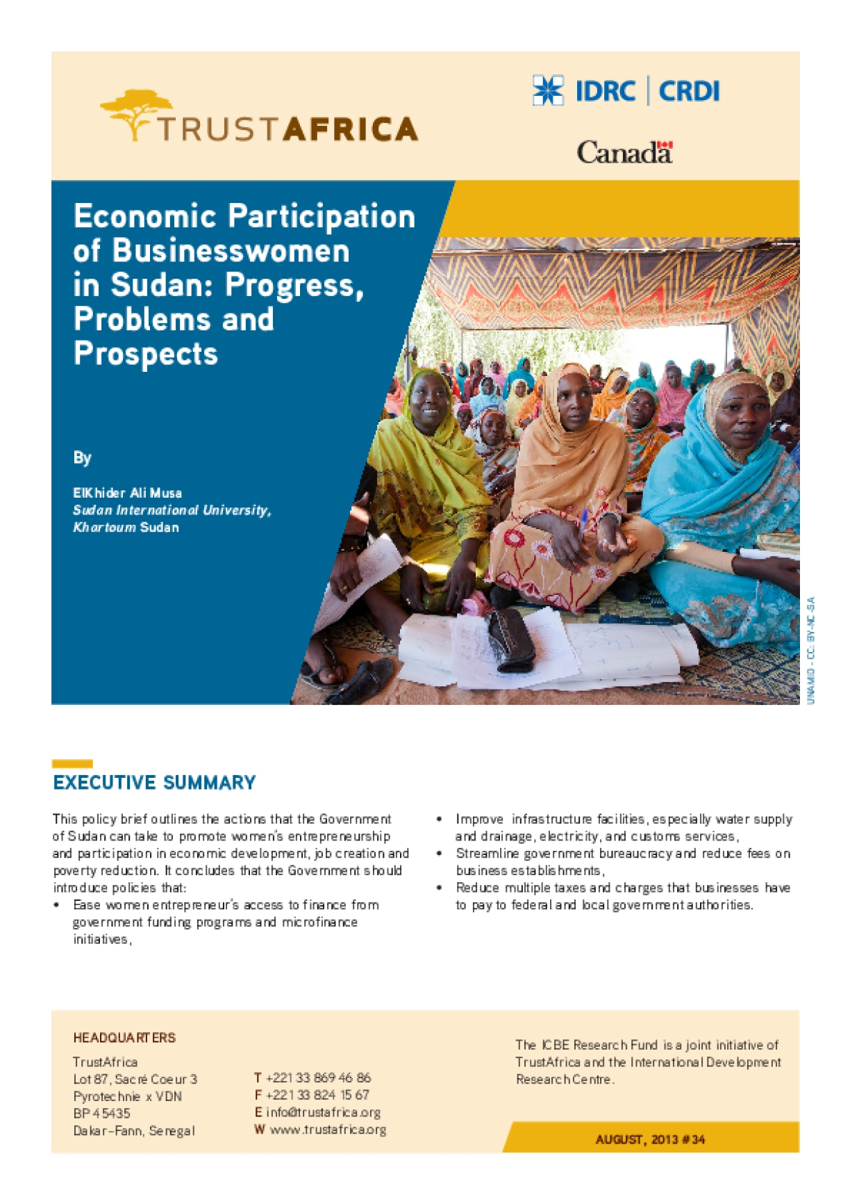 Economic Participation of Businesswomen in Sudan: Progress, Problems and Prospects