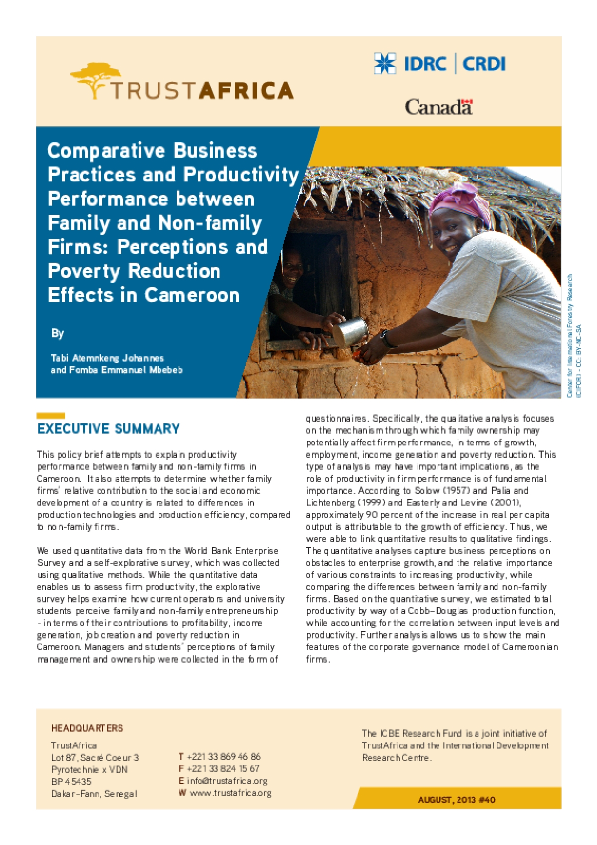 Comparative Business Practices and Productivity Performance between Family and Non-family Firms: Perceptions and Poverty Reduction Effects in Cameroon