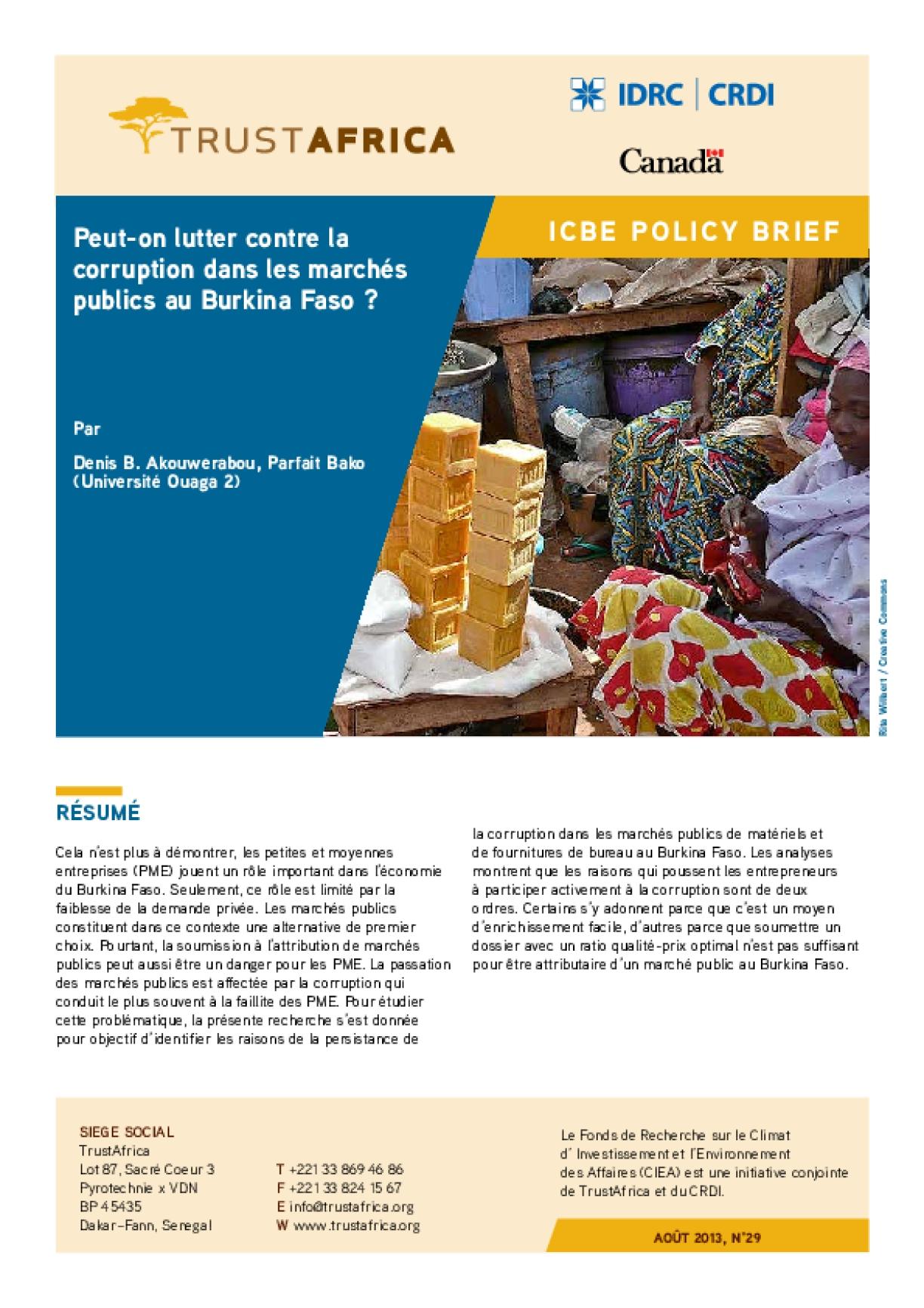 Peut-on Lutter Contre La Corruption Dans Les Marchés Publics Au Burkina Faso?