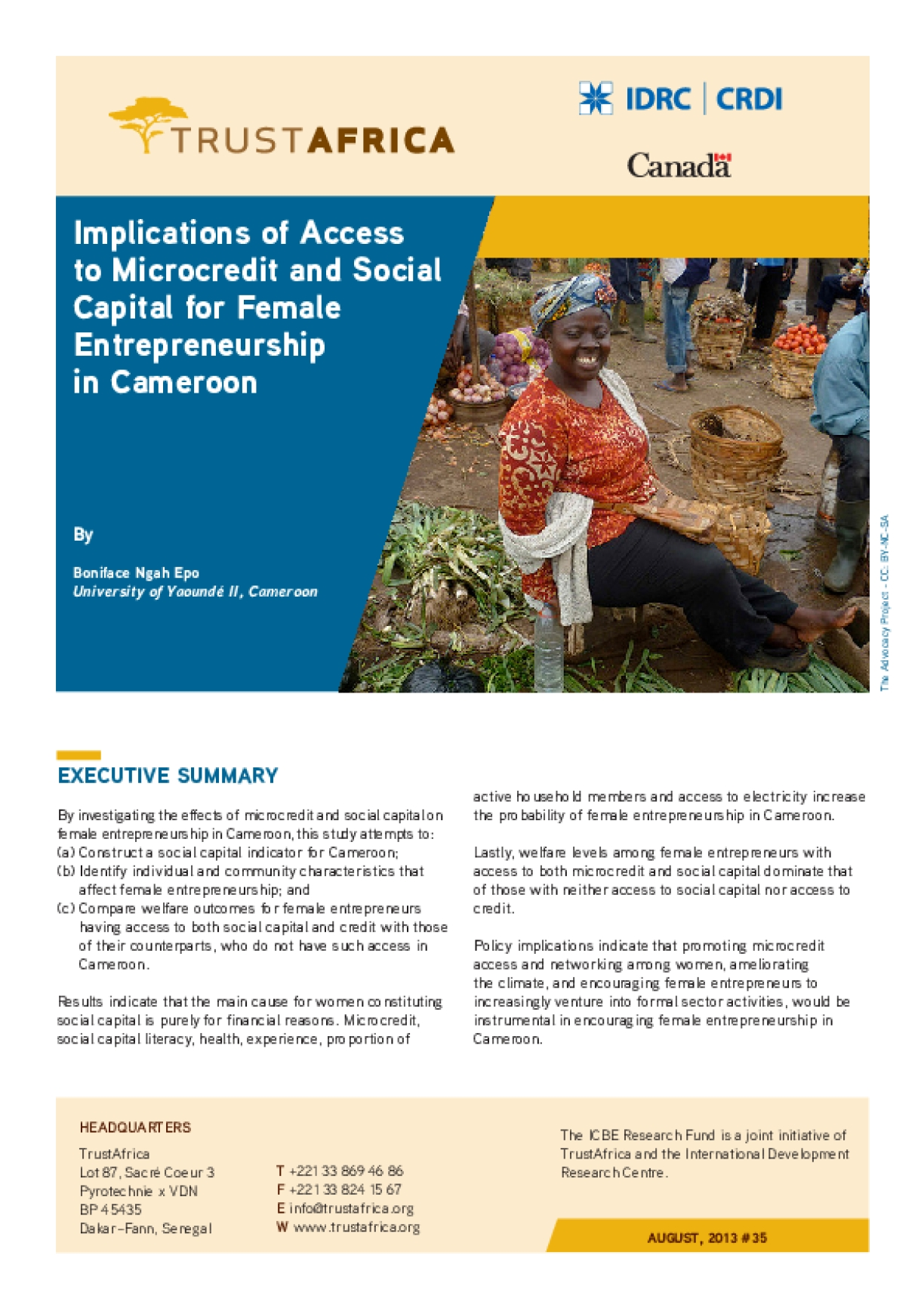Implications of Access to Microcredit and Social Capital for Female Entrepreneurship in Cameroon