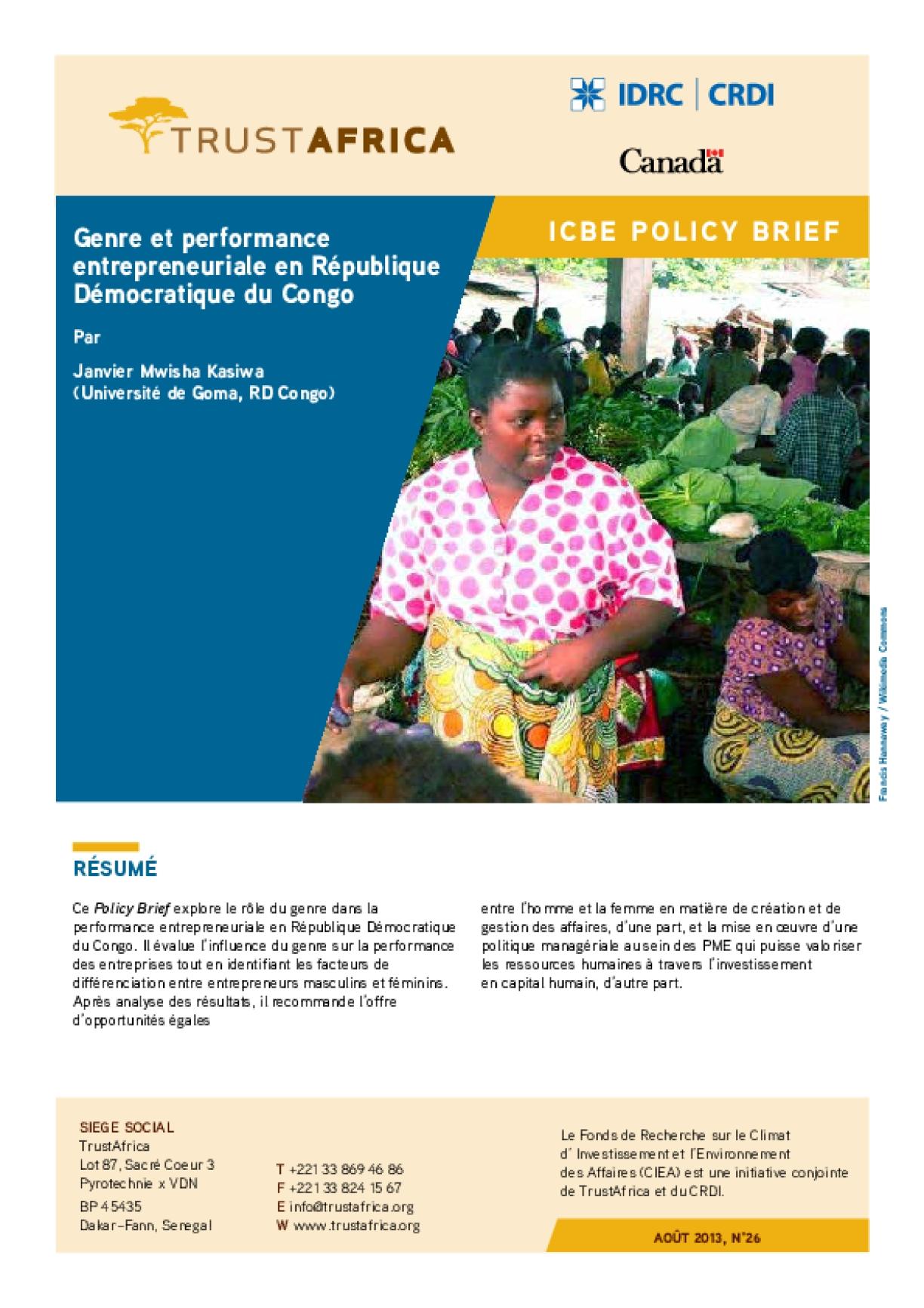Genre Et Performance Entrepreneuriale En République Démocratique Du Congo