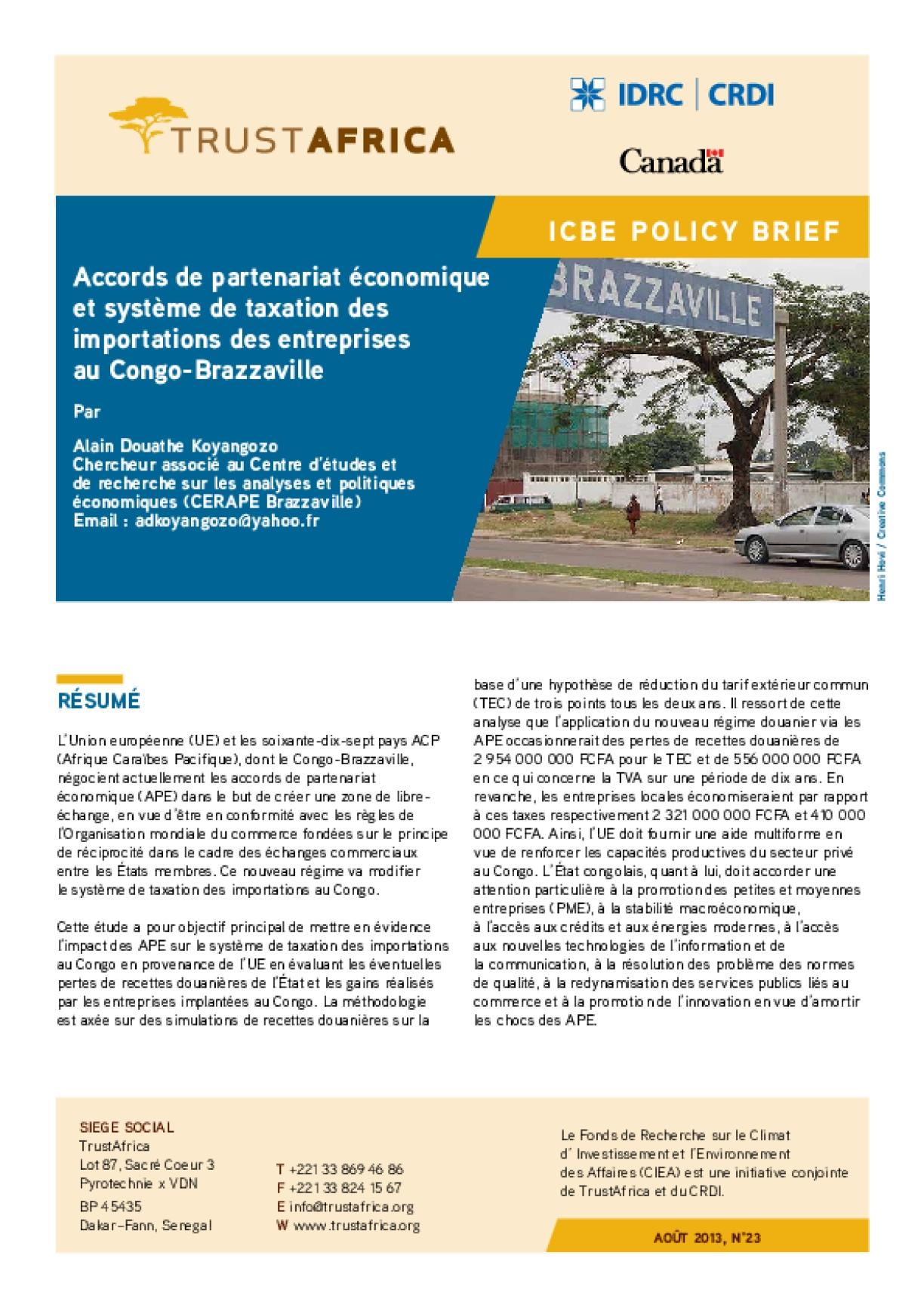 Accords De Partenariat Économique Et Système De Taxation Des Importations Des Entreprises Au Congo-Brazzaville
