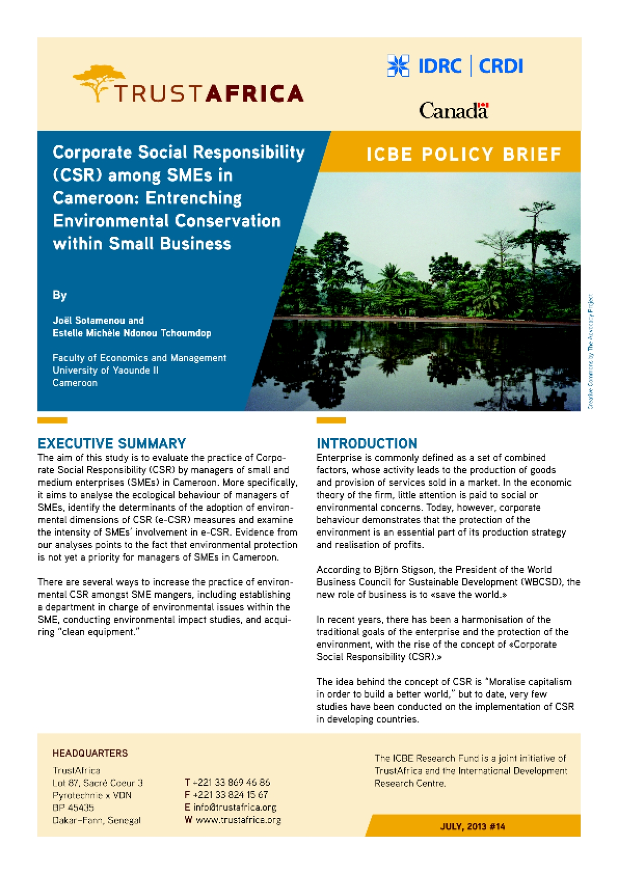 Corporate Social Responsibility (CSR) among SMEs in Cameroon: Entrenching Environmental Conservation within Small Business