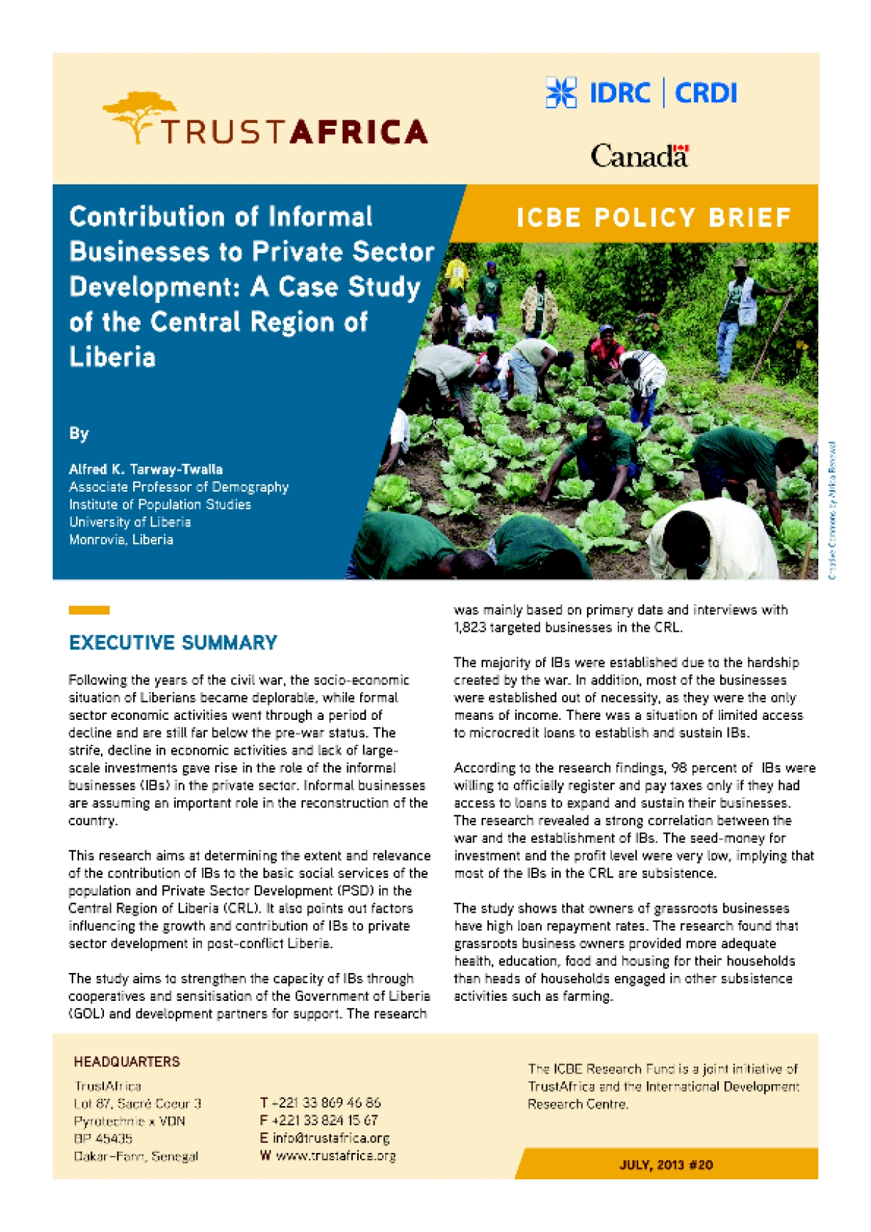 Contribution of Informal Businesses to Private Sector Development: A Case Study of the Central Region of Liberia
