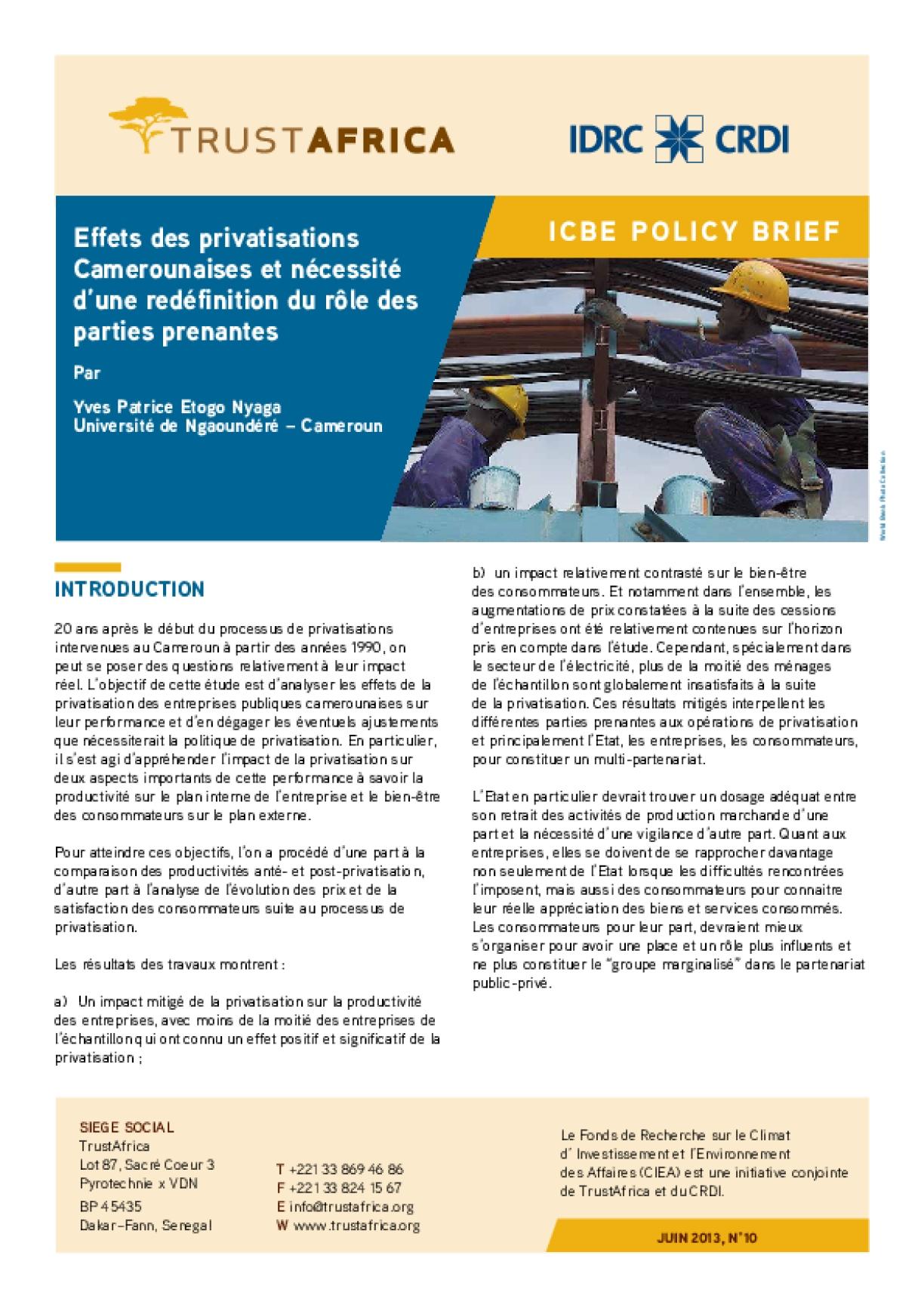 Effets Des Privatisations Camerounaises Et Nécessité D'une Redéfinition Du Rôle Des Parties Prenantes