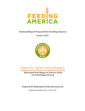 Feeding America Agencies and Food Programs: Additional Food Resources Needed Per Week