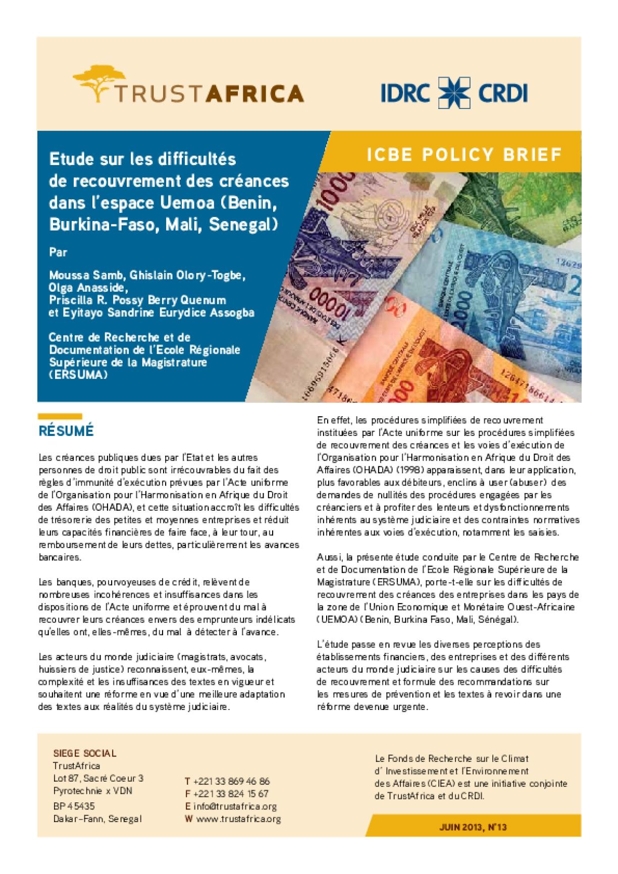 Etude Sur Les Difficultés De Recouvrement Des Créances Dans L'espace Uemoa (Benin, Burkina-faso, Mali, Senegal)