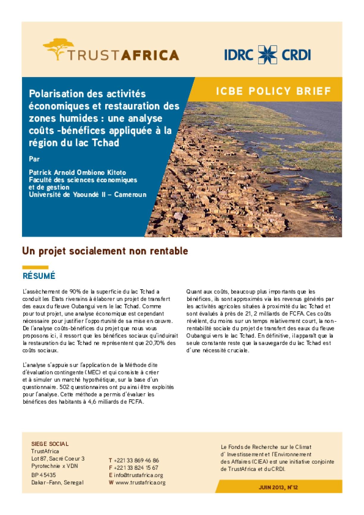 Polarisation Des Activités Économiques Et Restauration Des Zones Humides : Une Analyse Coûts -bénéfices Appliquée À La Région Du Lac Tchad