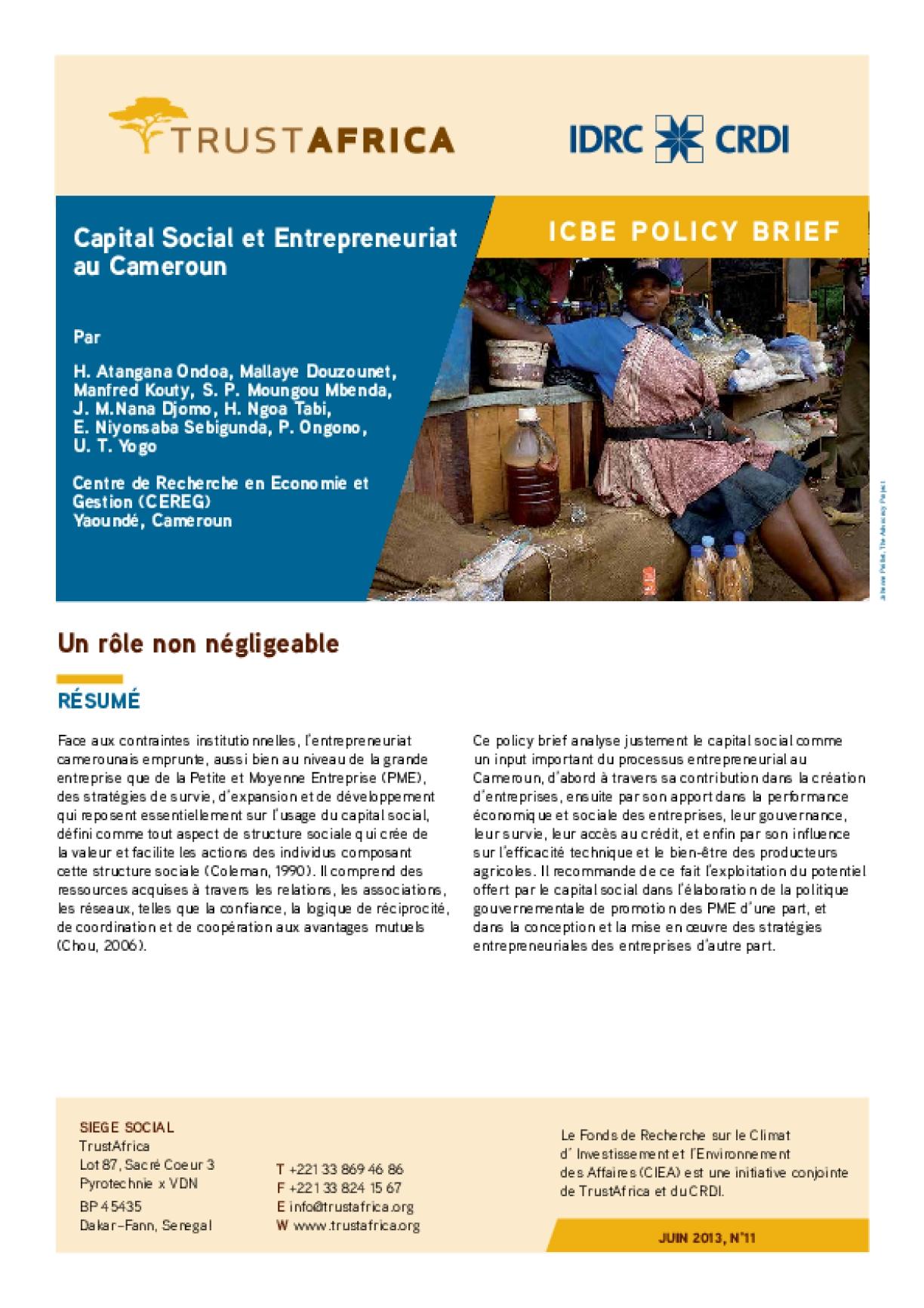 Capital Social et Entrepreneuriat au Cameroun