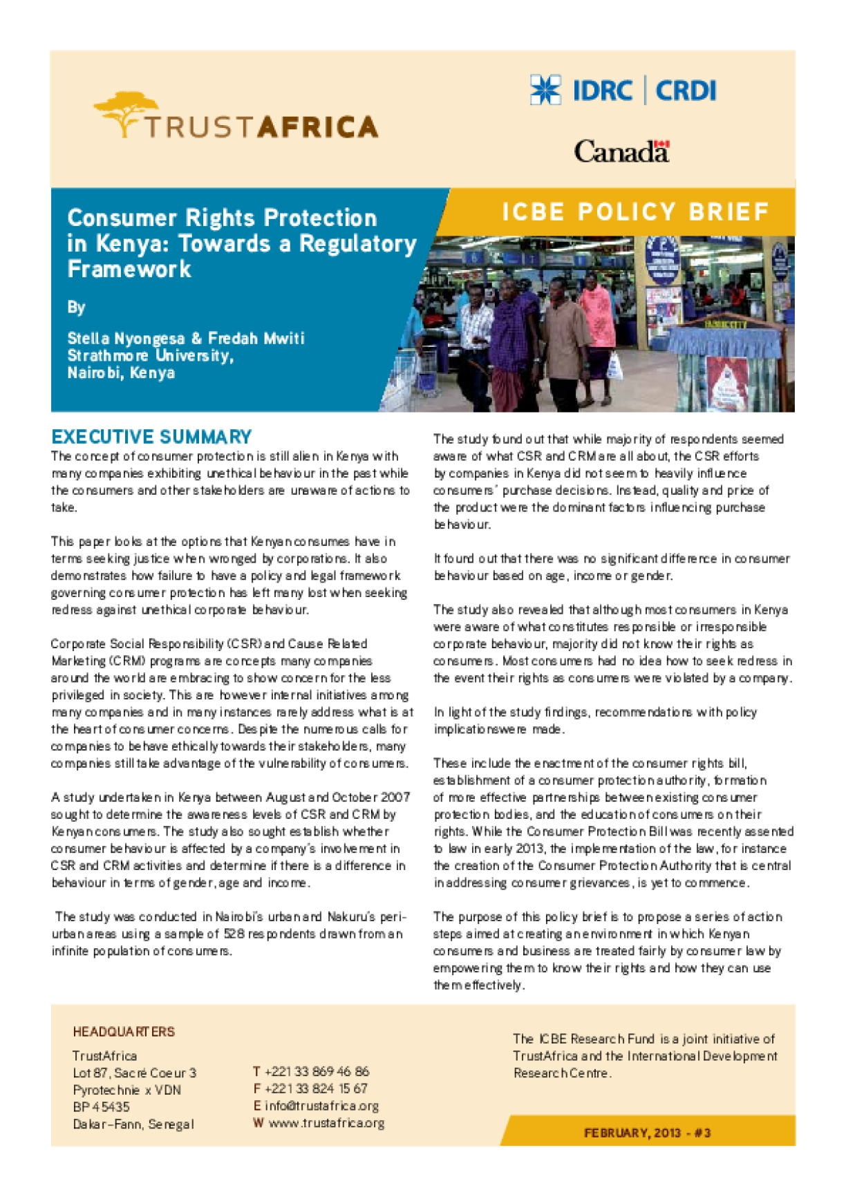 Consumer Rights Protection in Kenya: Towards a Regulatory Framework