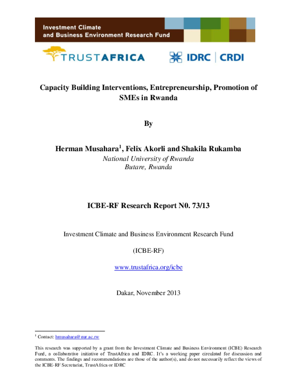 Capacity Building Interventions, Entrepreneurship, Promotion of SMEs in Rwanda