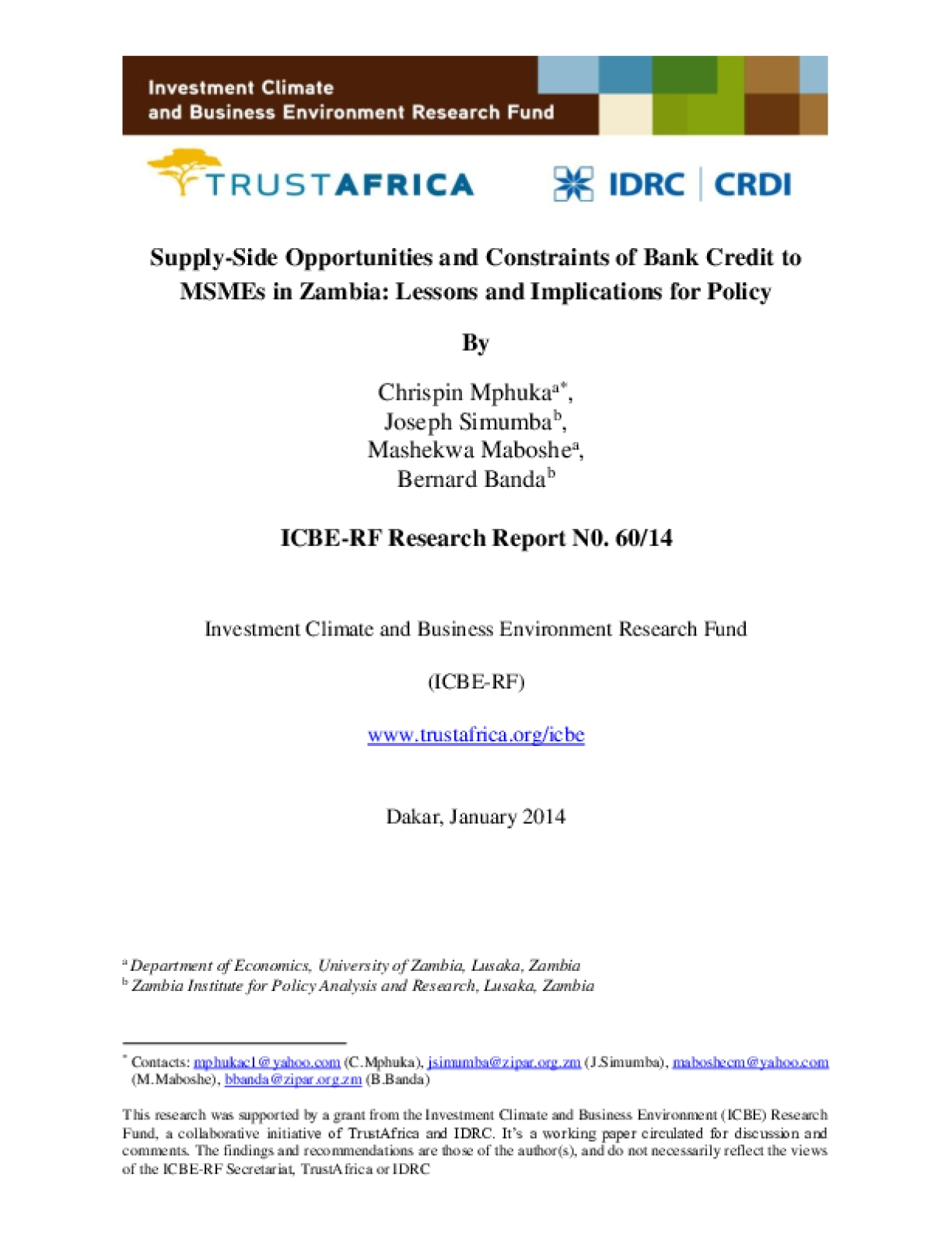 Supply-Side Opportunities and Constraints of Bank Credit to MSMEs in Zambia: Lessons and Implications for Policy