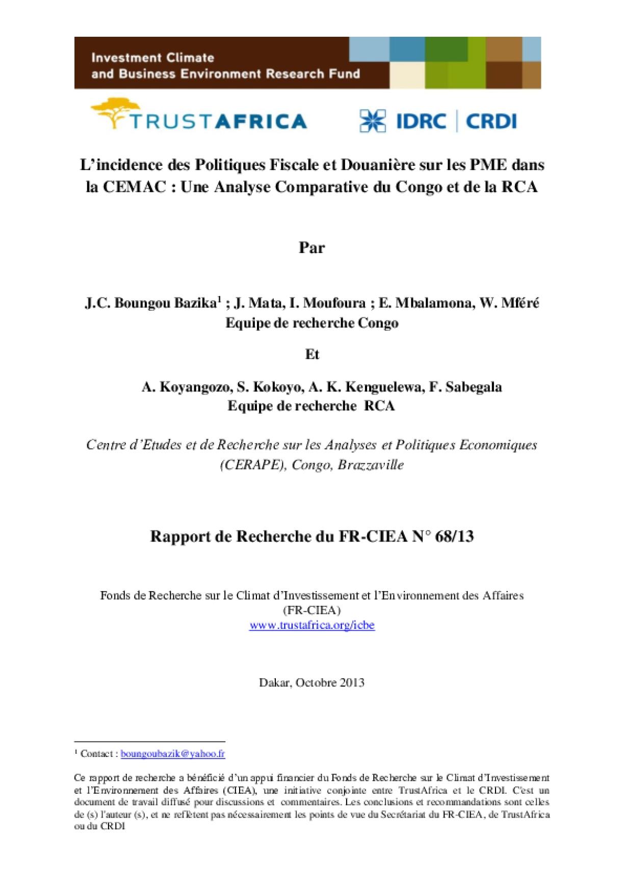 L'incidence des Politiques Fiscale et Douanière sur les PME dans la CEMAC : Une Analyse Comparative du Congo et de la RCA