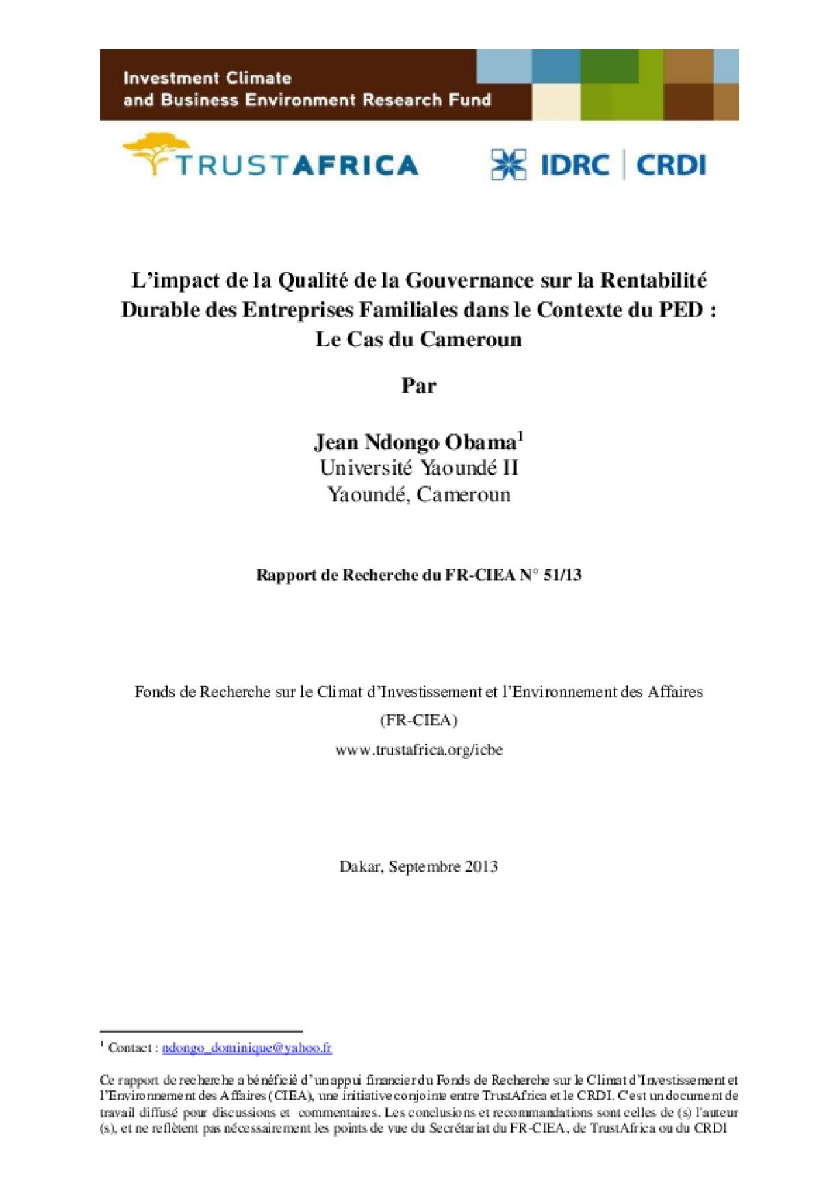 L'impact de la Qualité de la Gouvernance sur la Rentabilité Durable des Entreprises Familiales dans le Contexte du PED : Le Cas du Cameroun