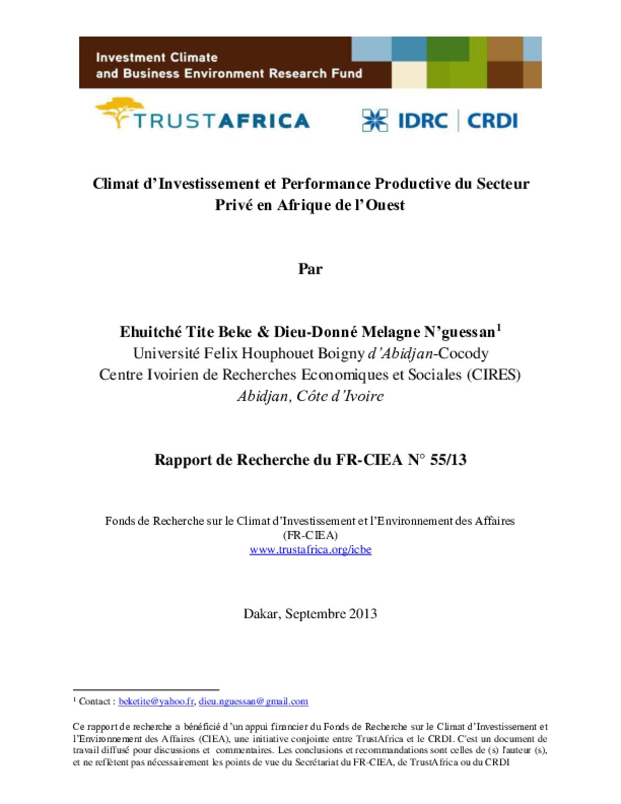 Climat d'Investissement et Performance Productive du Secteur Privé en Afrique de l'Ouest