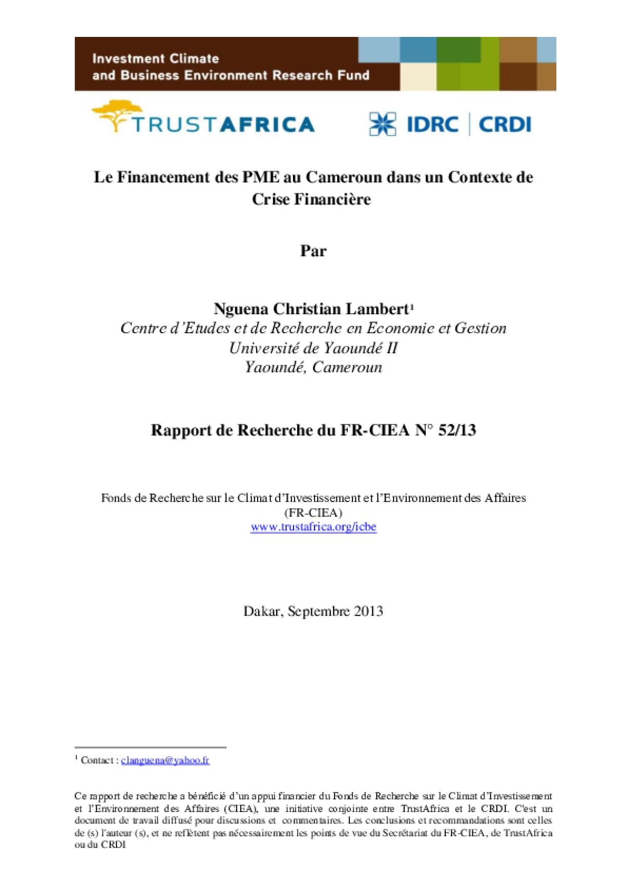 Le Financement des PME au Cameroun dans un Contexte de Crise Financière