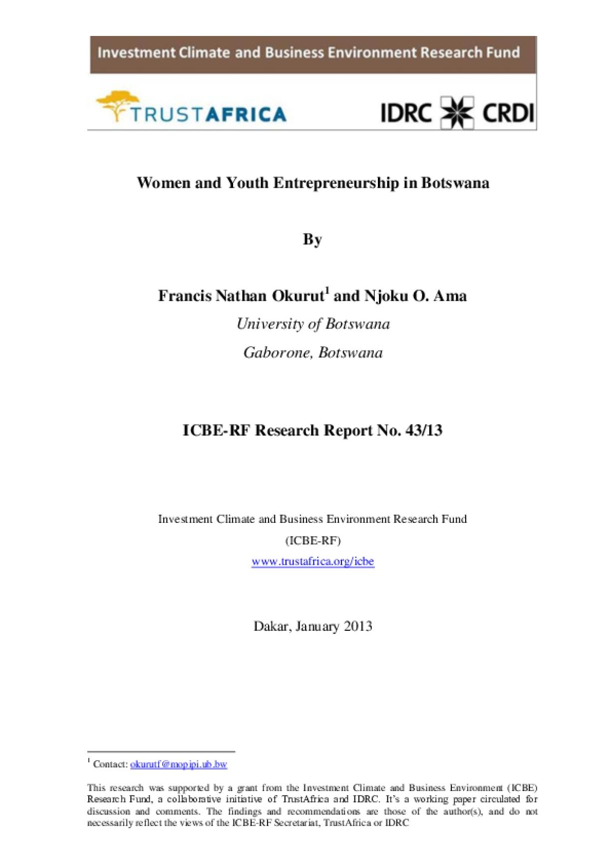 Women and Youth Entrepreneurship in Botswana