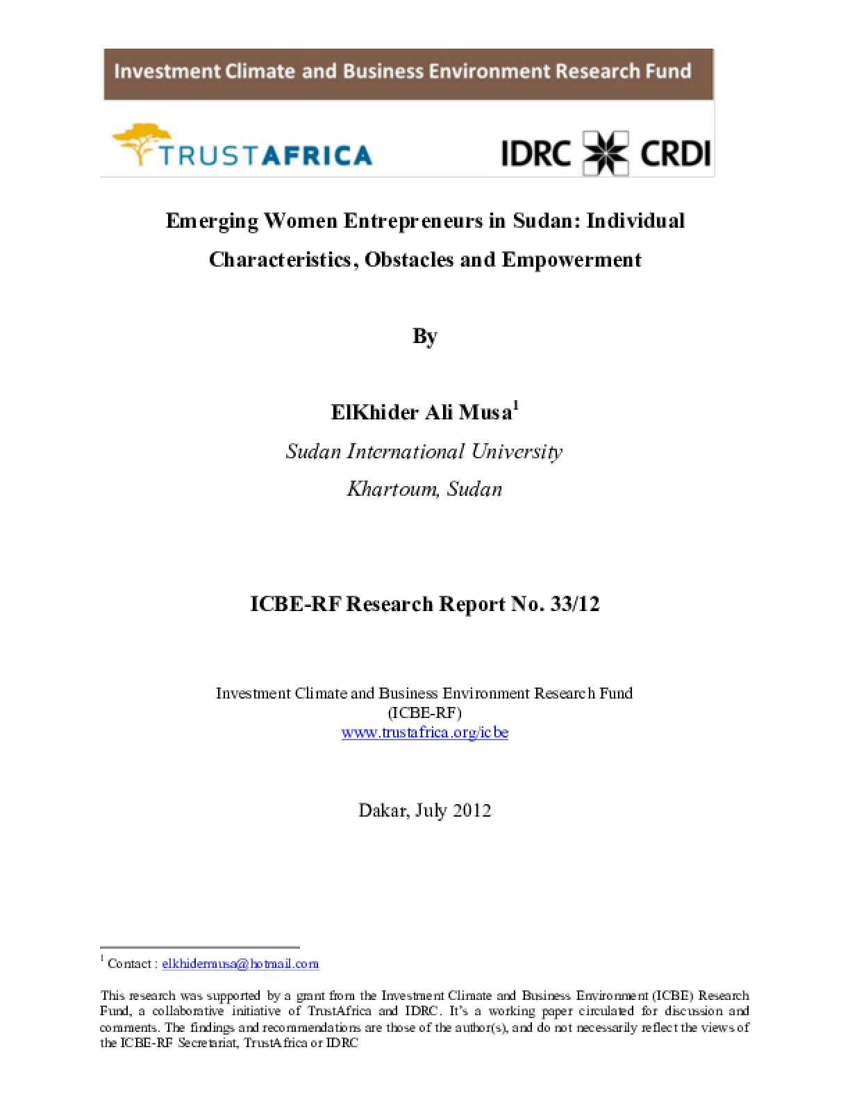 Emerging Women Entrepreneurs in Sudan: Individual Characteristics, Obstacles and Empowerment