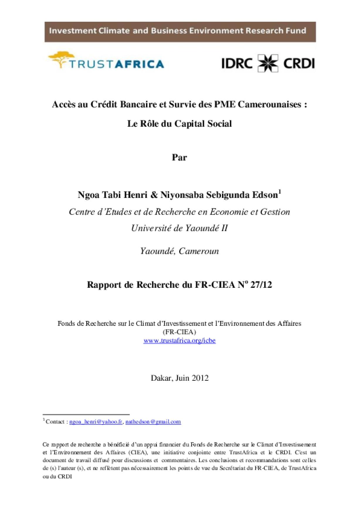Accès au Crédit Bancaire et Survie des PME Camerounaises_Le Rôle du Capital Social