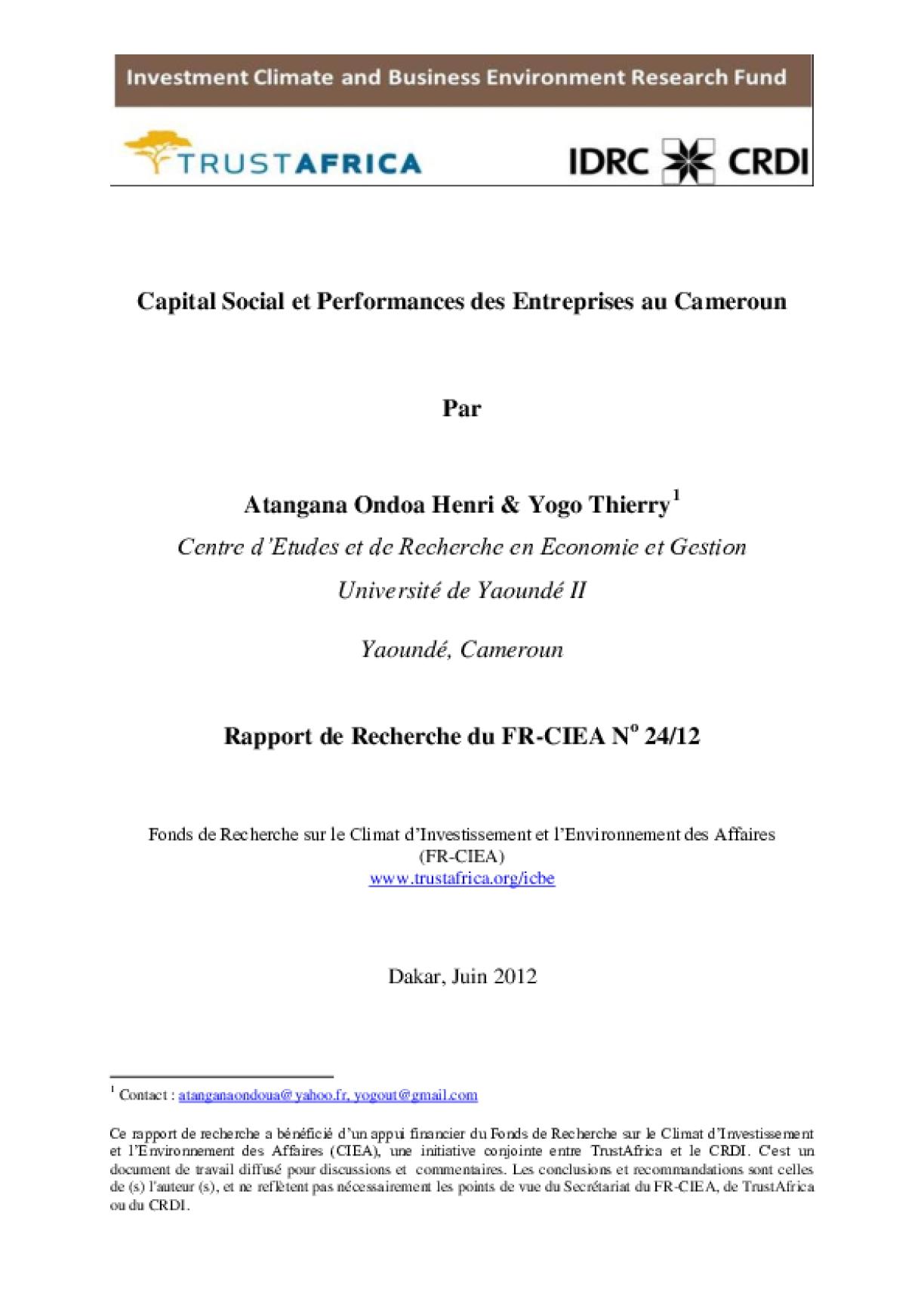Capital Social et Performances des Entreprises au Cameroun