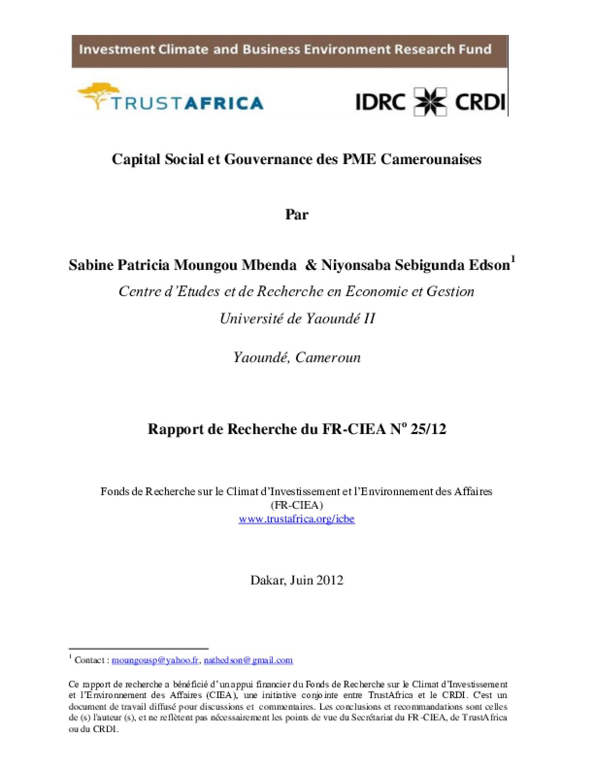 Capital Social et Gouvernance des PME Camerounaises