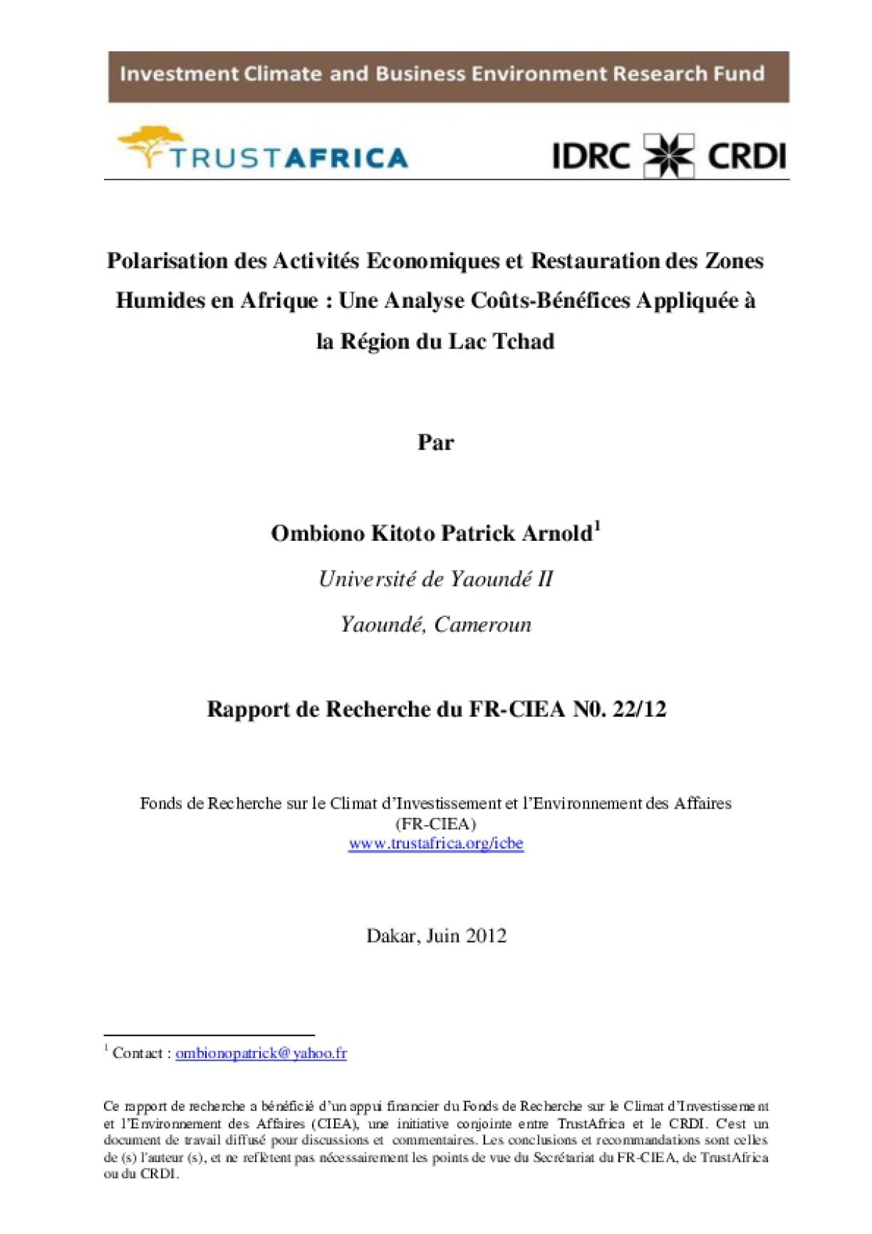 Polarisation des Activités Economiques et Restauration des Zones Humides en Afrique: Une Analyse Coûts-Bénéfices Appliquée à la Région du Lac Tchad