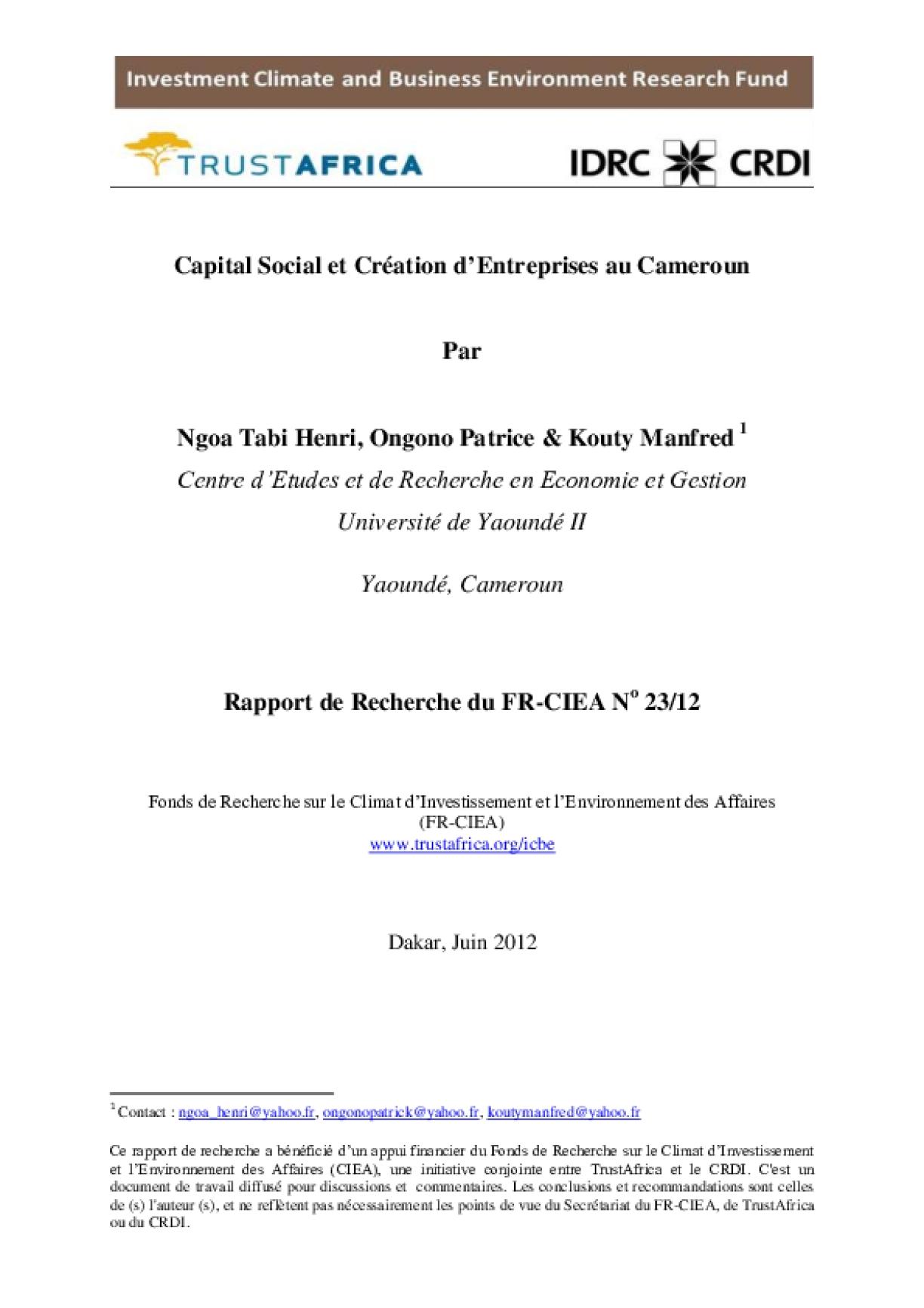 Capital Social et Création d'Entreprises au Cameroun