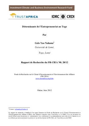 Déterminants de l'Entrepreneuriat au Togo