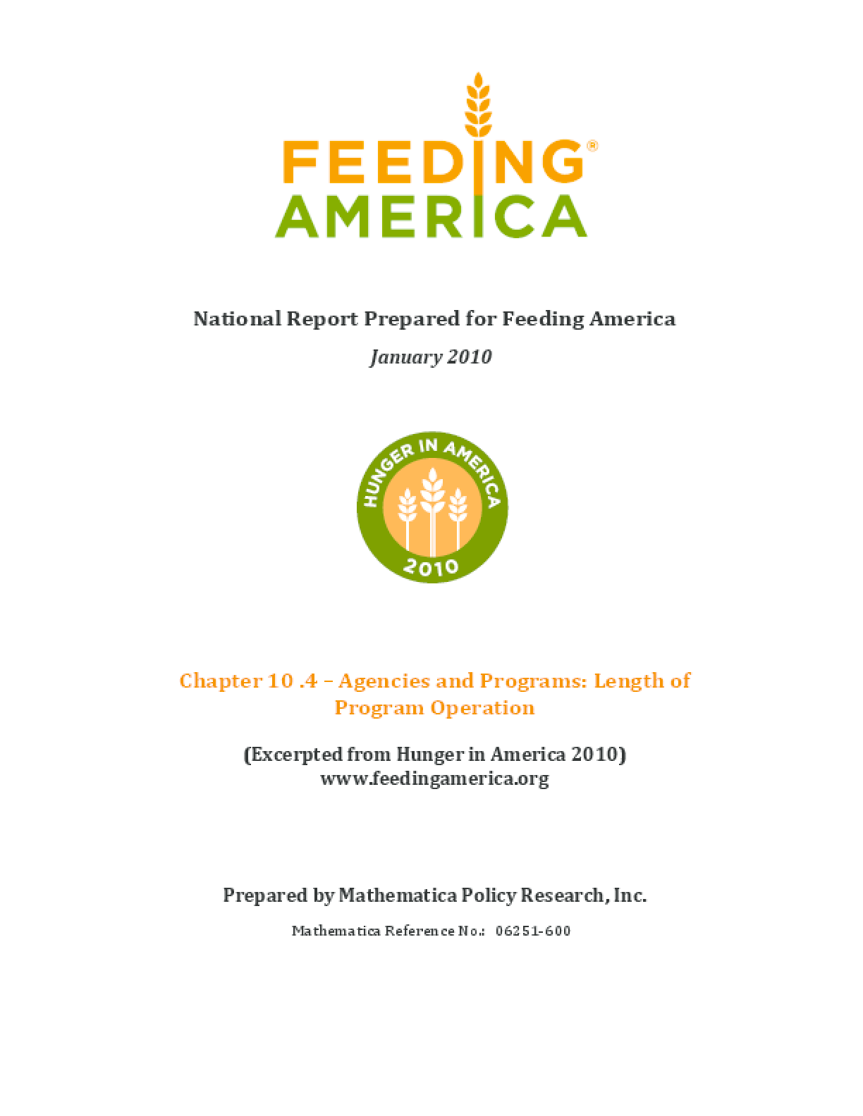 Feeding America Agencies and Food Programs: Length of Program Operation