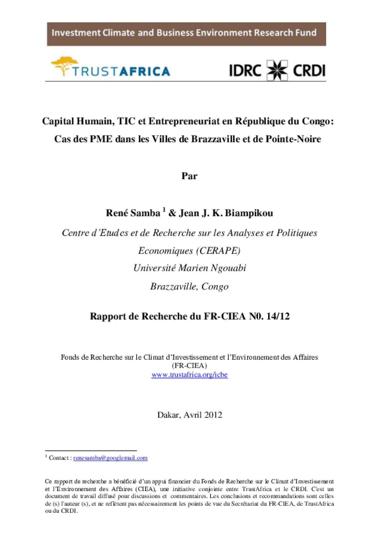 Capital Humain, TIC et Entrepreneuriat en Republique du Congo_Cas des PME dans les Villes de Brazzaville et de Pointe-Noire