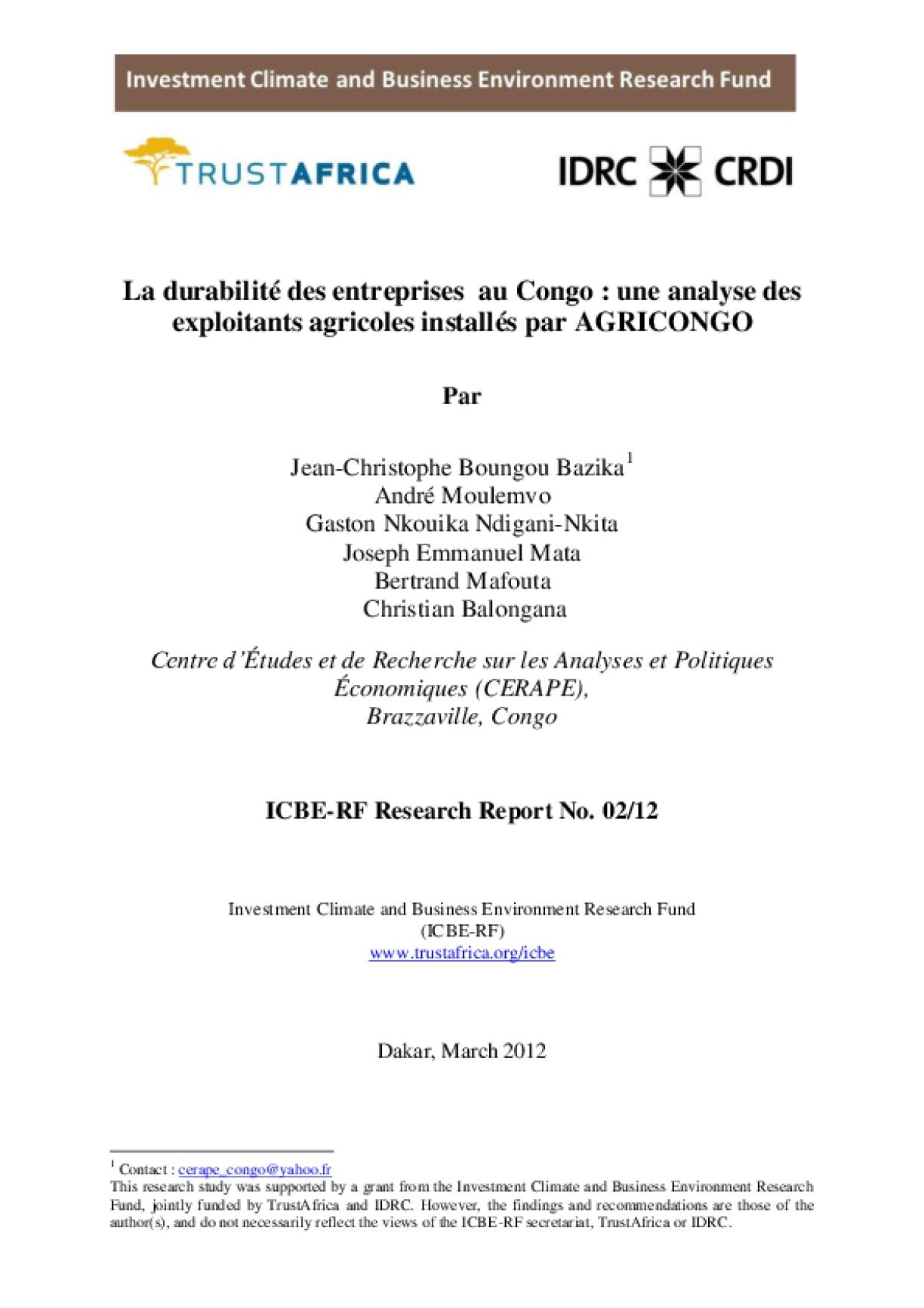 La durabilité des entreprises au Congo: une analyse des exploitants agricoles installés par AGRICONGO