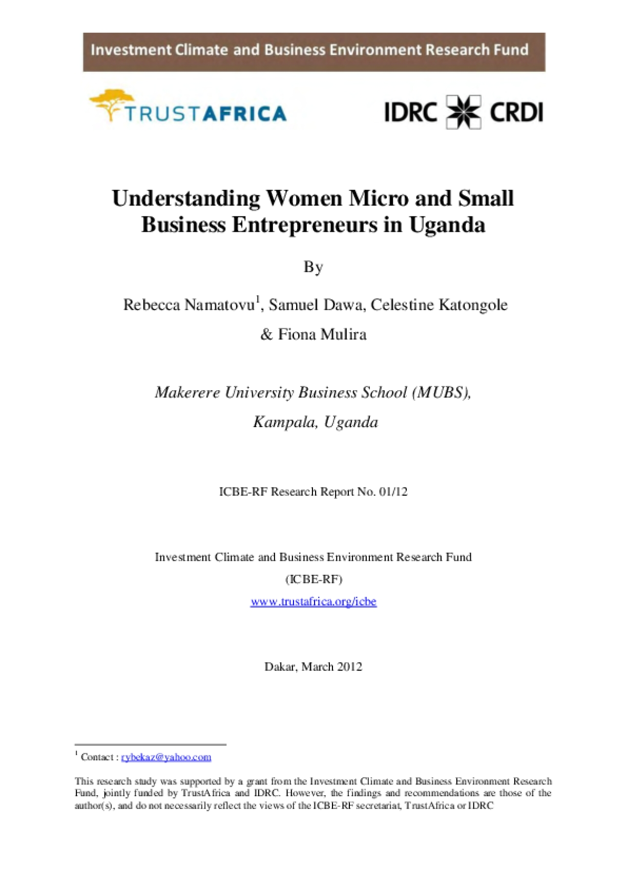 Understanding Women Micro and Small Business Entrepreneurs in Uganda