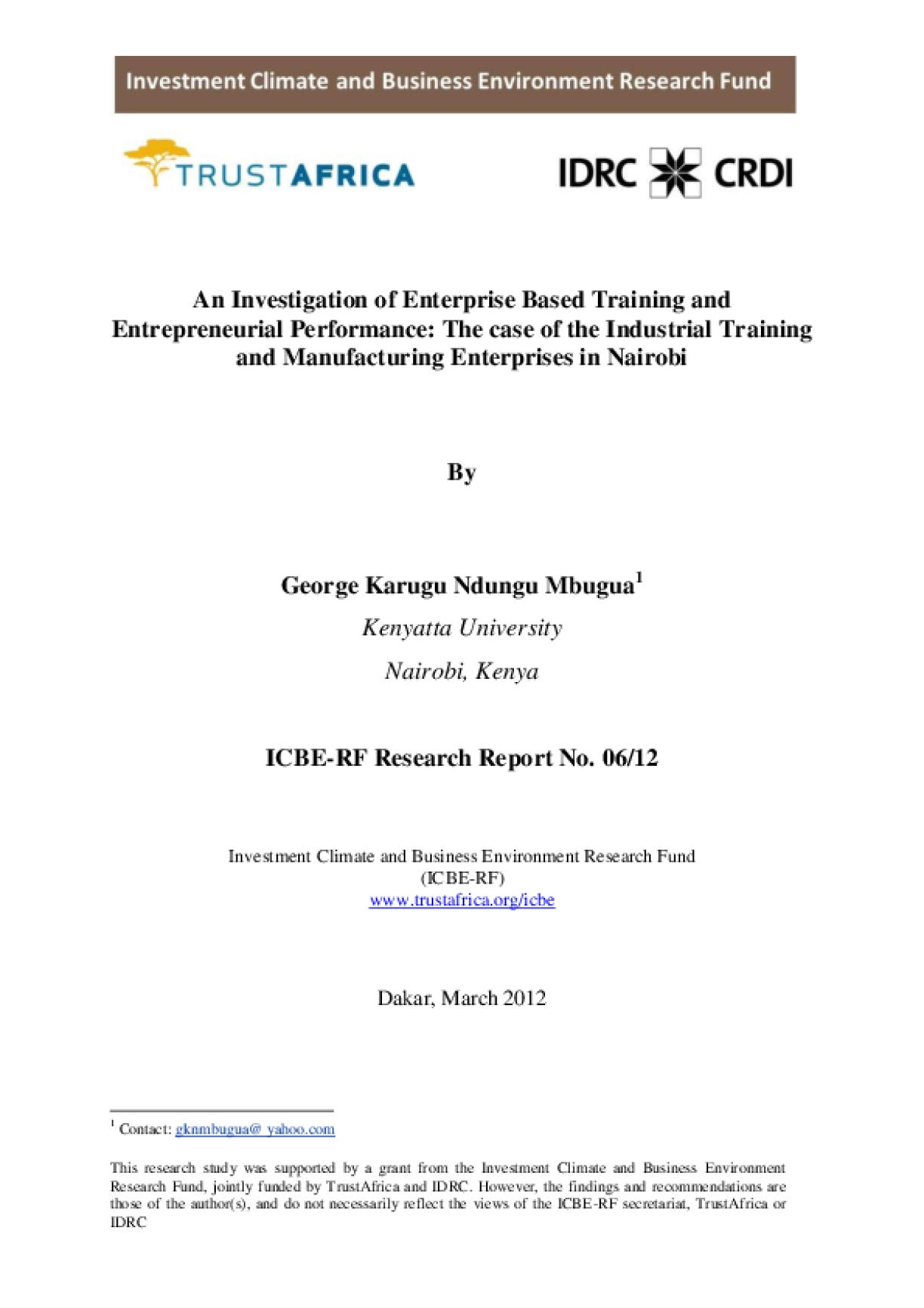 An Investigation of Enterprise Based Training and Entrepreneurial Performance: The case of the Industrial Training and Manufacturing Enterprises in Nairobi