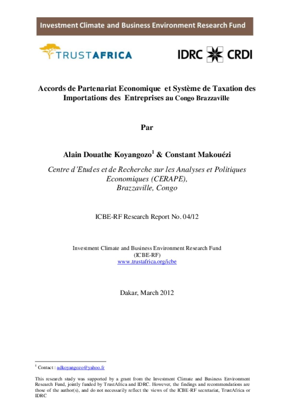 Accords de Partenariat Economique et Système de Taxation des Importations des Entreprises au Congo Brazzaville
