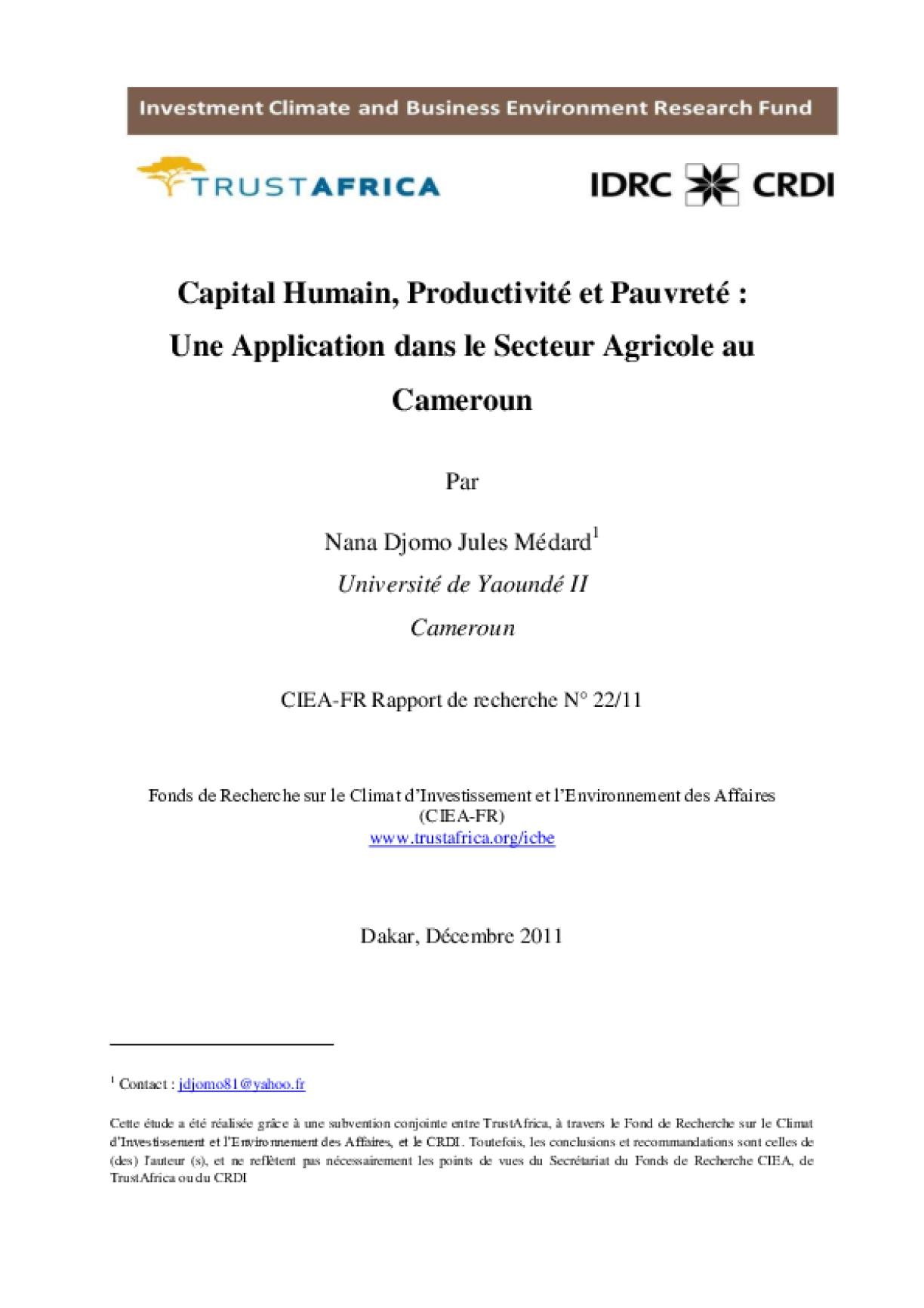Capital Humain, Productivité et Pauvreté : Une Application dans le Secteur Agricole au Cameroun