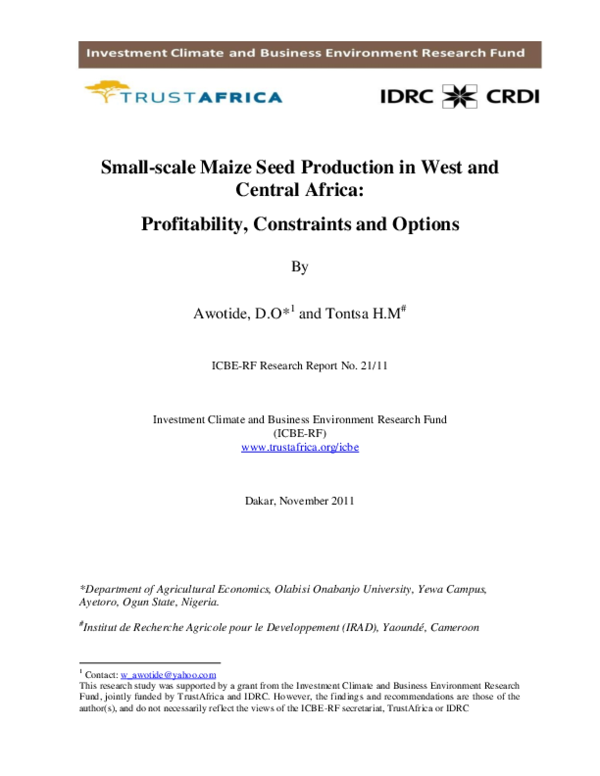 Small-scale Maize Seed Production in West and Central Africa: Profitability, Constraints and Options
