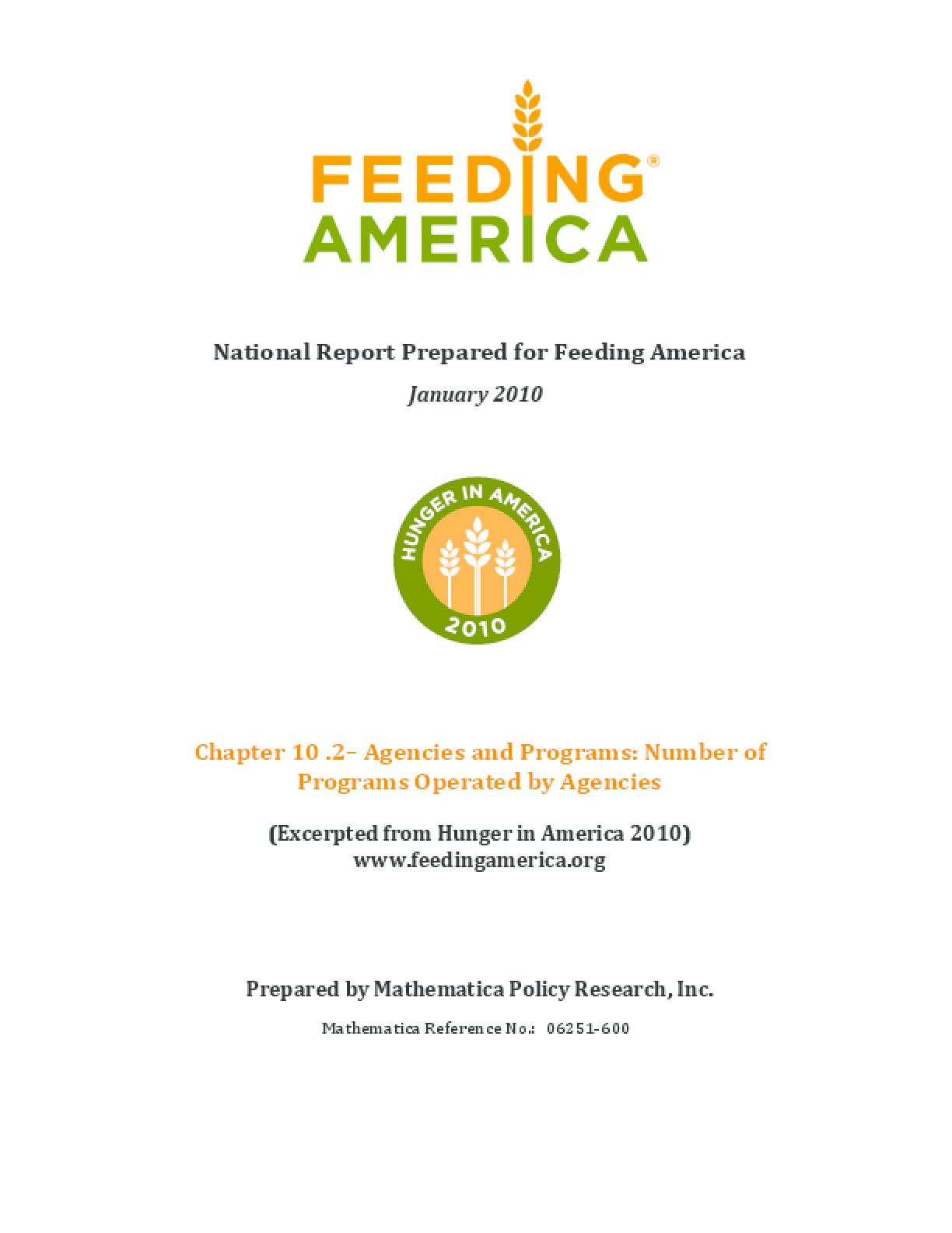 Feeding America Agencies and Food Programs: Number of Programs Operated by Agencies