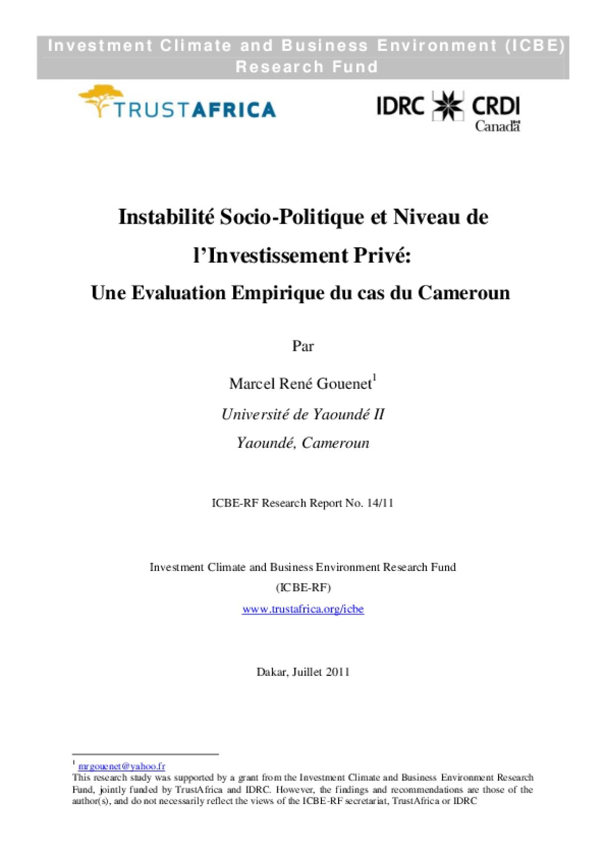 Instabilité Socio Politique et Niveau de I'Investissement Privé_Une Evaluation Empirique du cas du Cameroun