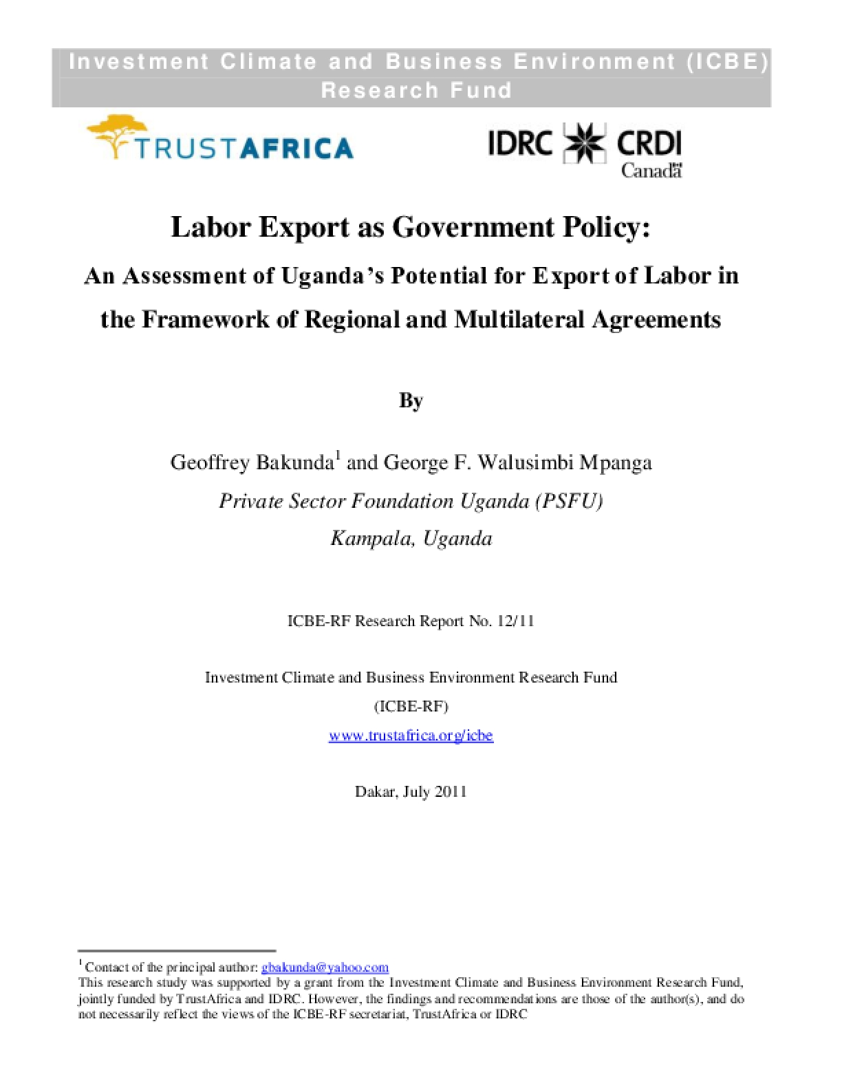 Labor Export as Government Policy An Assessment of Uganda's Potential for Export of Labor in the Framework of Regional and Multilateral Agreements