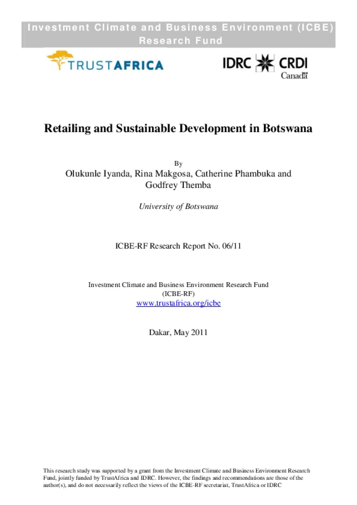 Retailing and Sustainable Development in Botswana