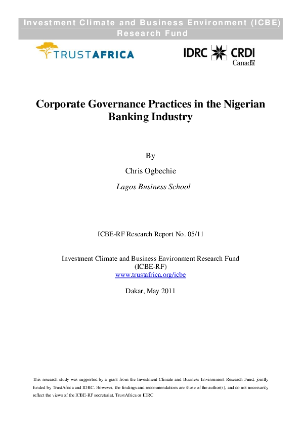 Corporate Governance Practices in the Nigerian Banking Industry