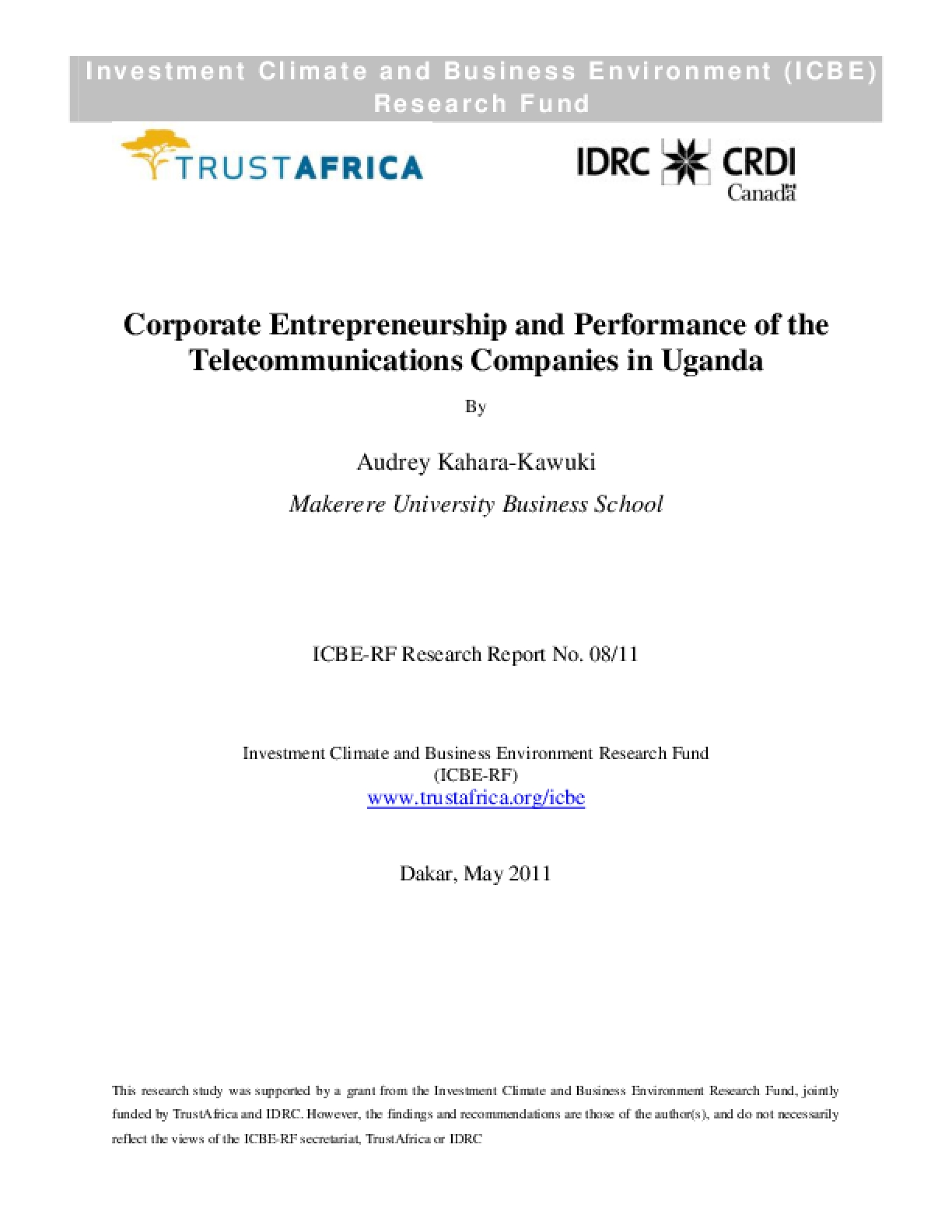 Corporate Entrepreneurship and Perfomance of the Telecommunications Companies in Uganda
