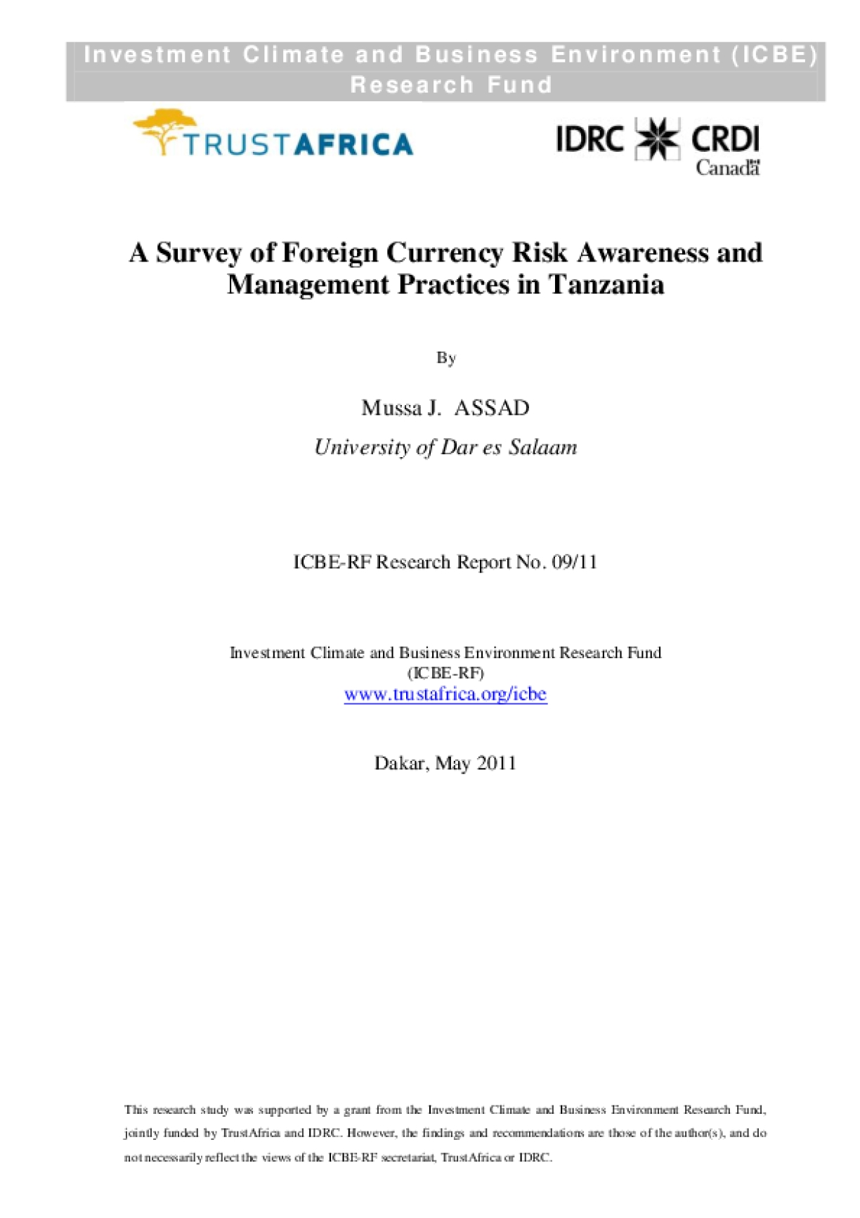 A Survey of Foreign Currency Risk Awareness and Management Practices in Tanzania