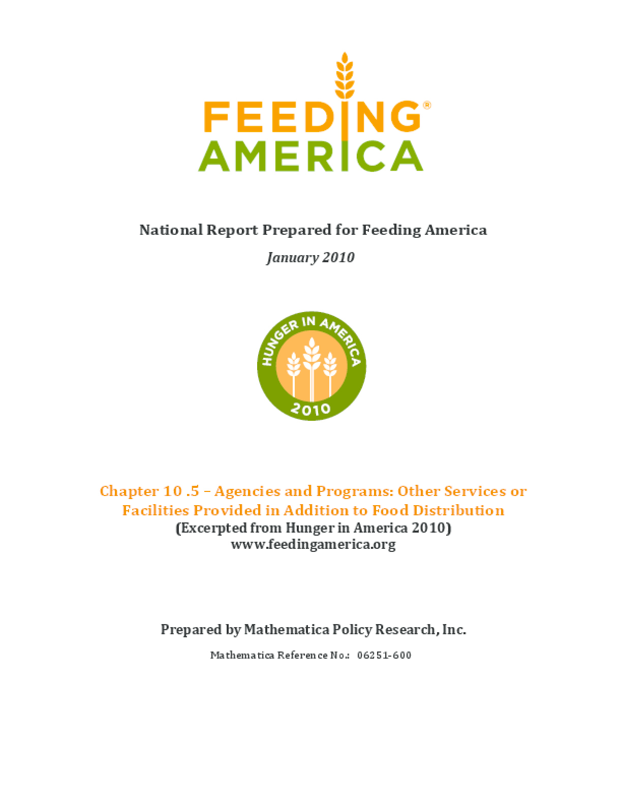 Feeding America Agencies and Food Programs: Other Services or Facilities Provided in Addition to Food Distribution