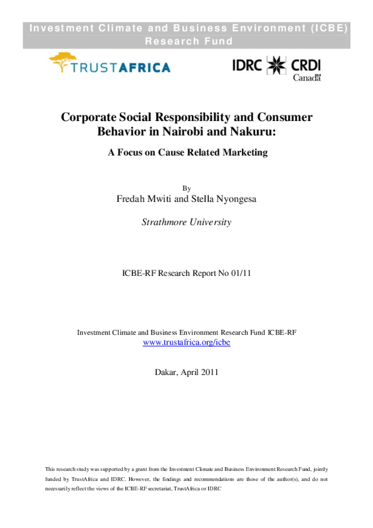 Corporate Social Responsibility and Consumer Behaviour in Nairobi and Nakuru: A Focus on Cause Related Marketing