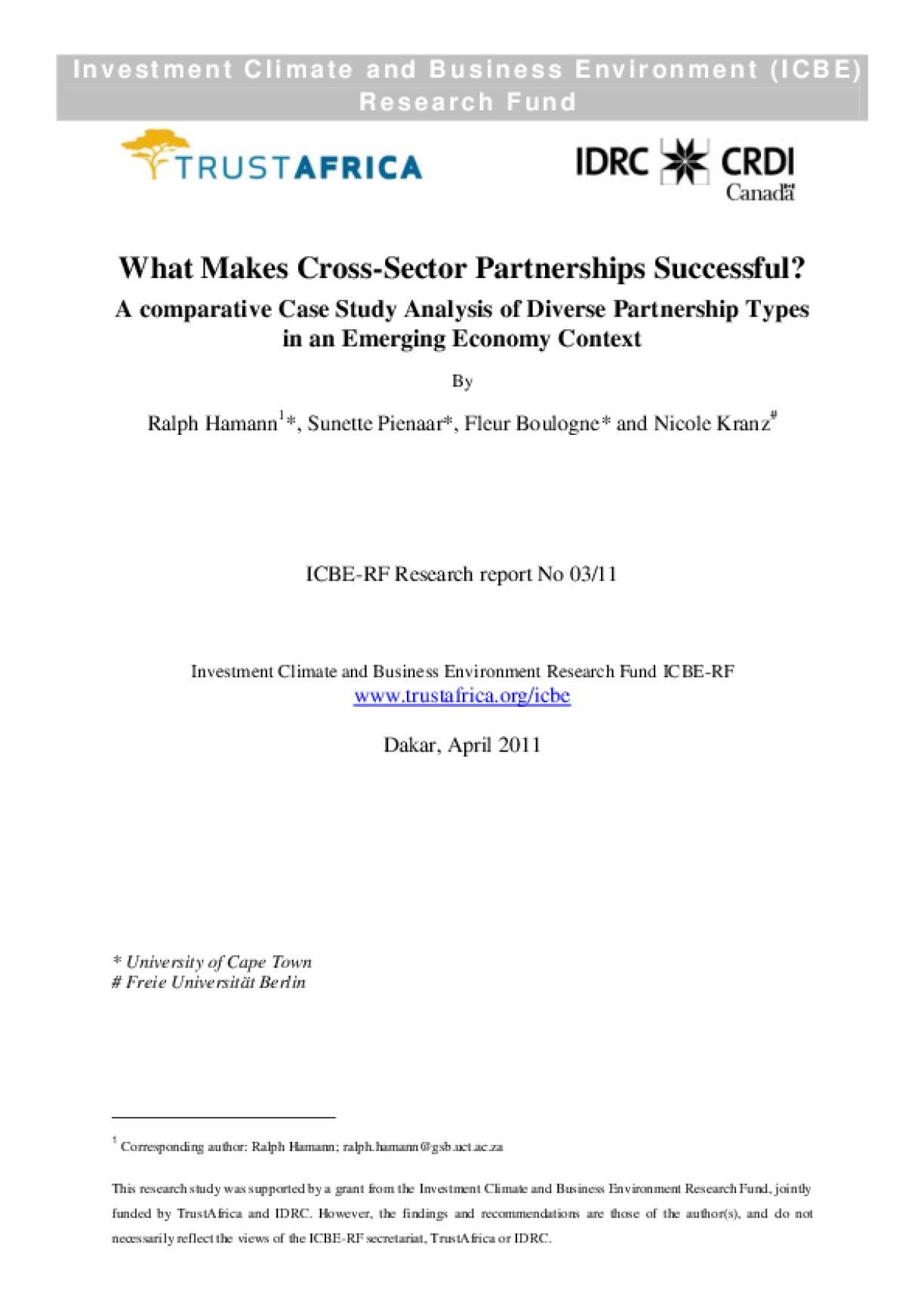 What Makes Cross-Sector Partnerships Successful? A Comparative Case Study Analysis of Diverse Partnership Types in an Emerging Economy Context