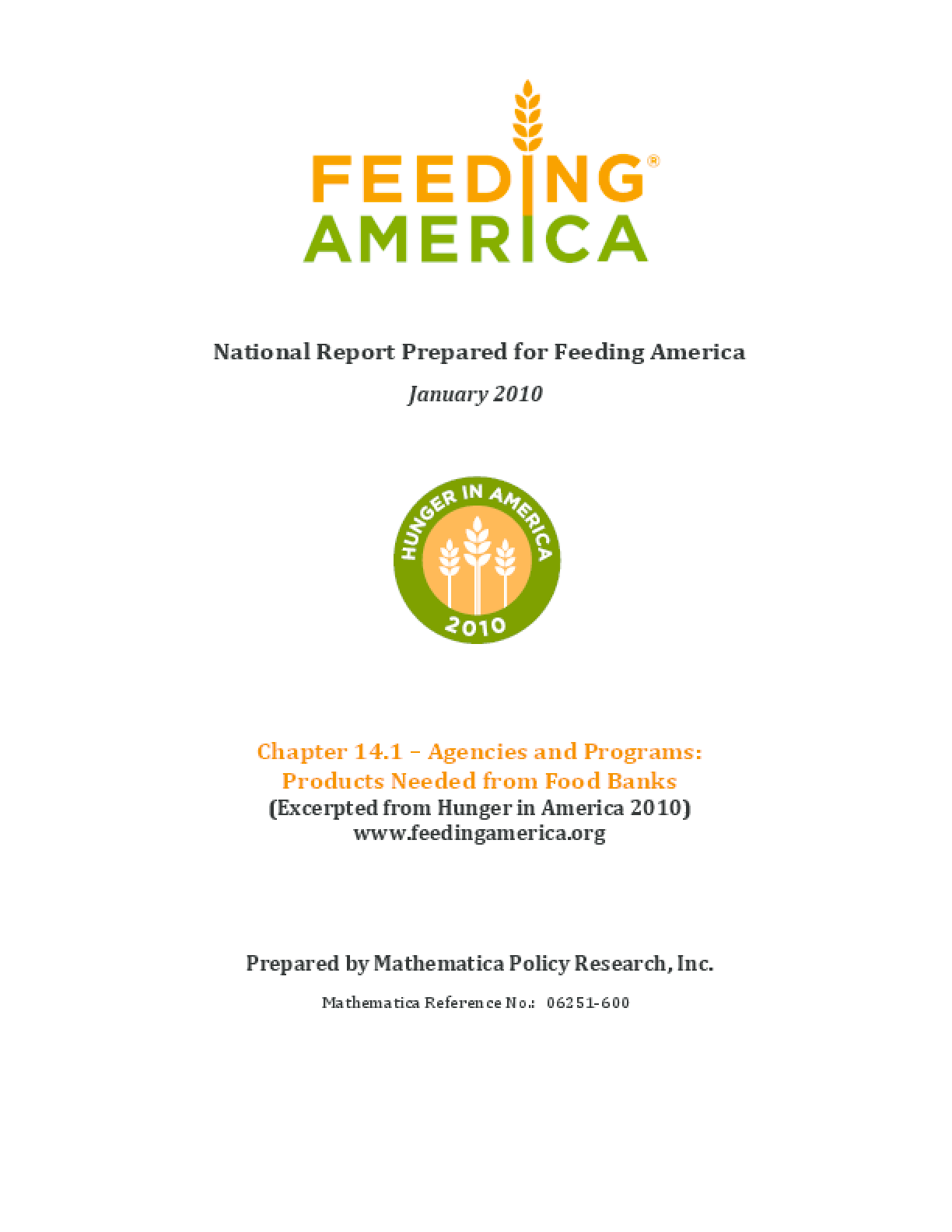 Feeding America Agencies and Food Programs: Products Needed from Food Banks
