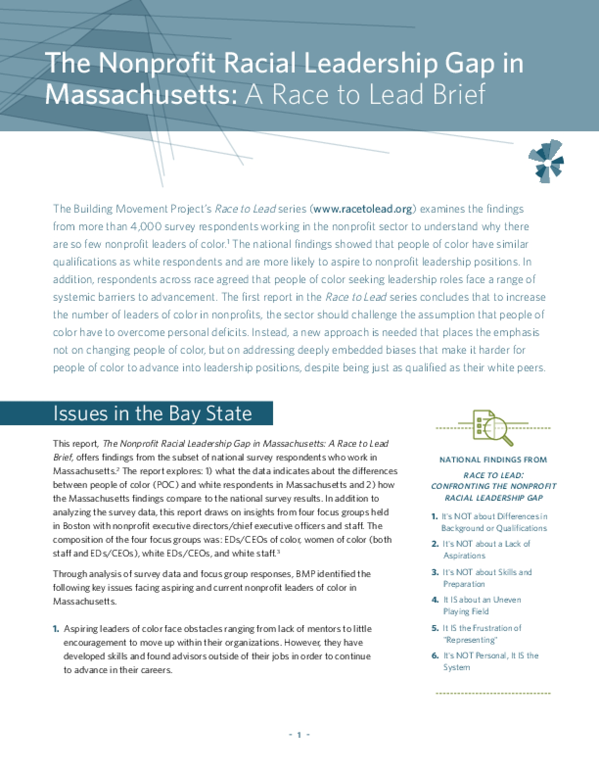 The Nonprofit Racial Leadership Gap in Massachusetts: A Race to Lead Brief
