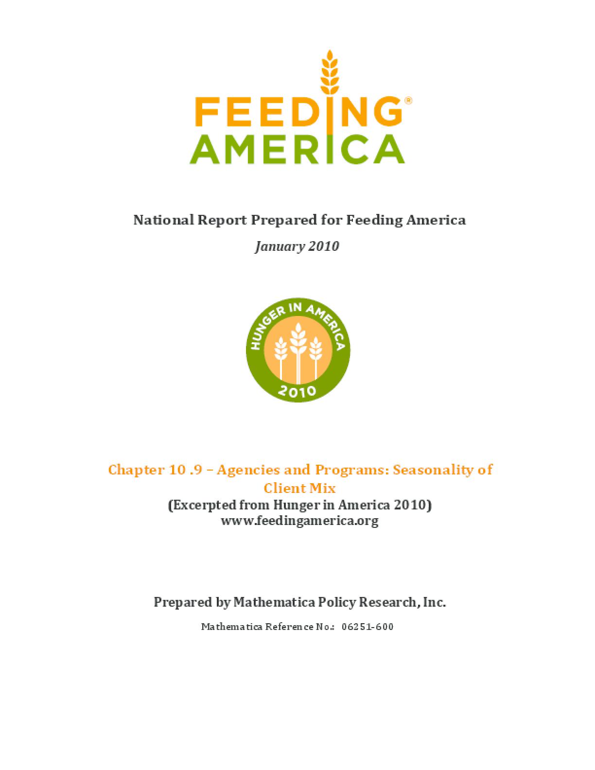 Feeding America Agencies and Food Programs: Seasonality of Client Mix